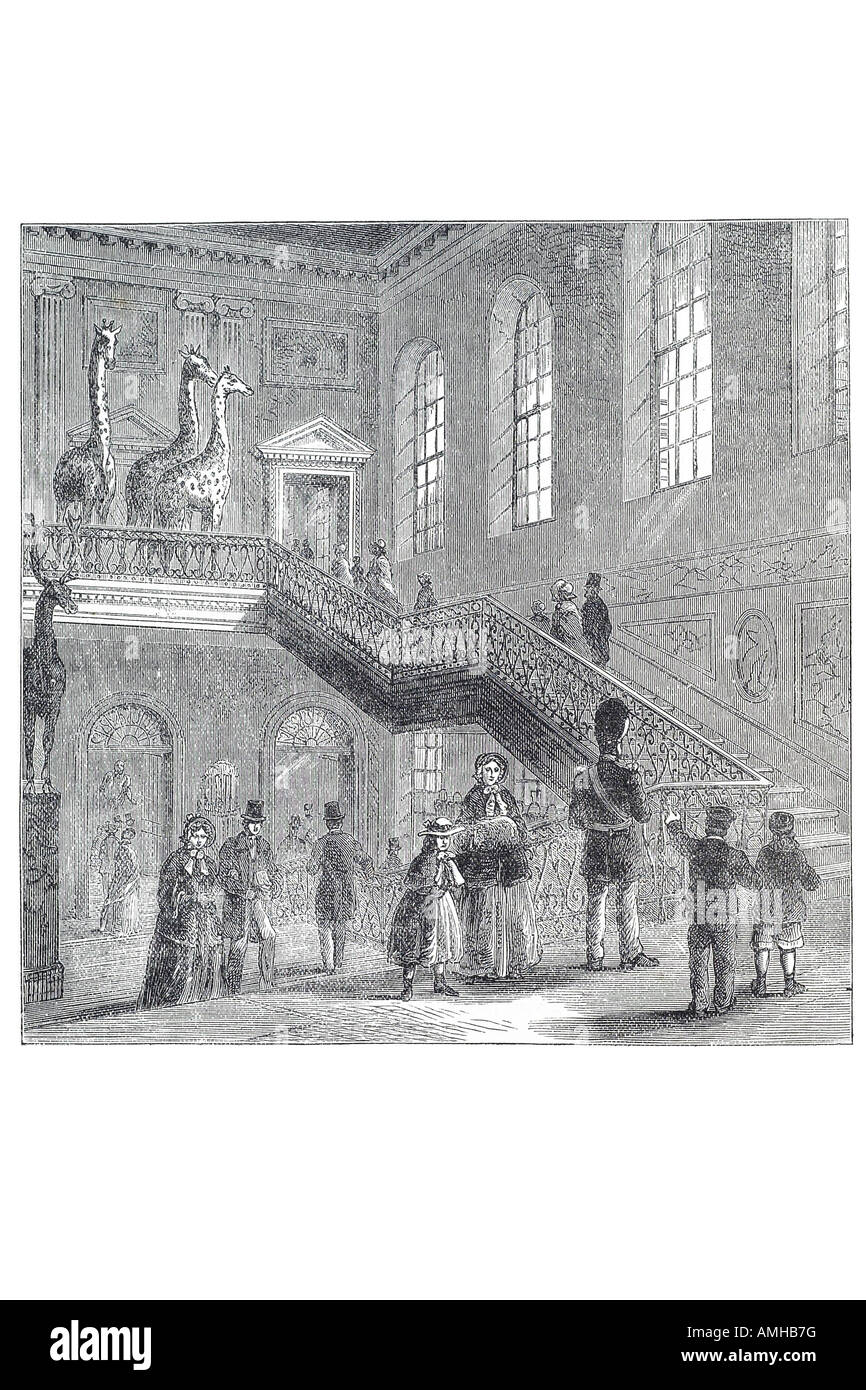 1830 Montagu Montague house Great Russell Street Bloomsbury grand staircase Giraffe House Museum City royal urban - Stock Image