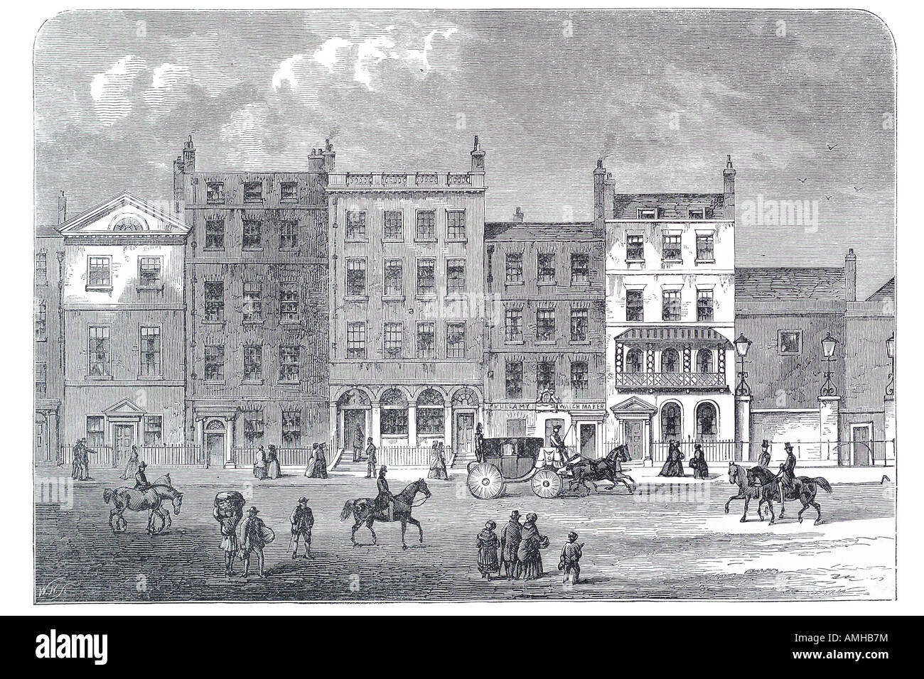 1830 pall mall  SW1 high street shop retail coach horse ride house residence office tenement City royal urban London - Stock Image