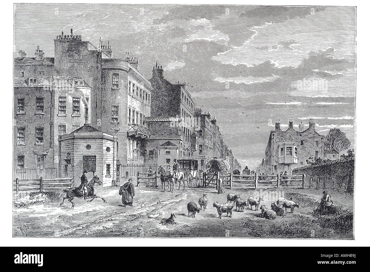 1820 tyburn turnpike OXFORD STREET Marble Arch City royal urban London Greater capital England English Britain British - Stock Image