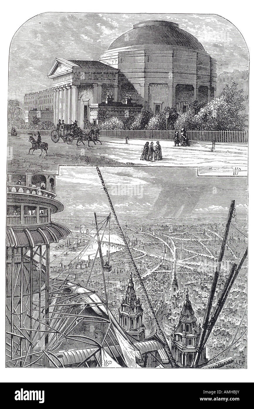 1827 colosseum coliseum panorama London elevated view terrace London Greater capital City England English Britain - Stock Image