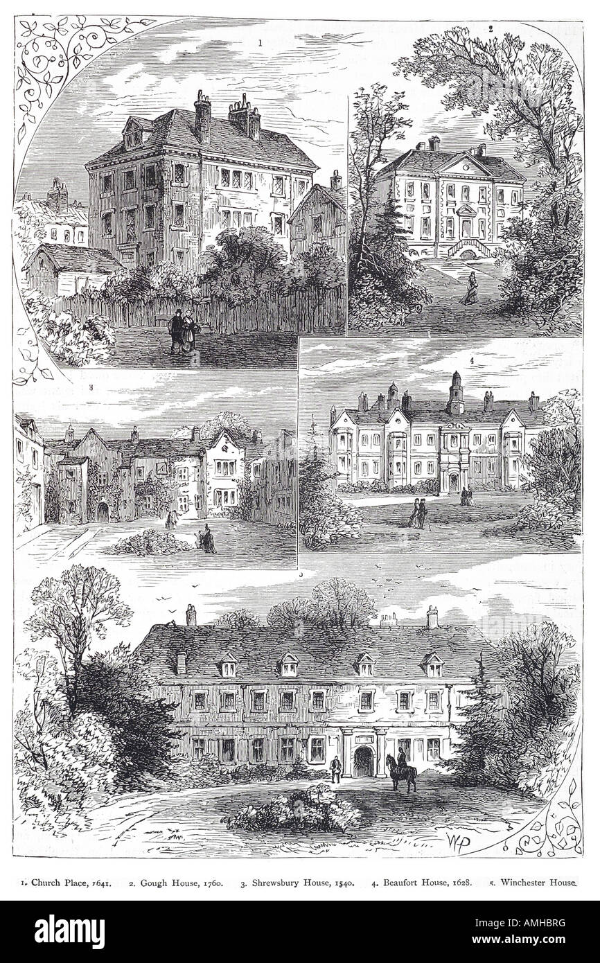 1540 1760 mansions Chelsea church place gough house shrewsbury beaufort winchester London Greater capital City England - Stock Image