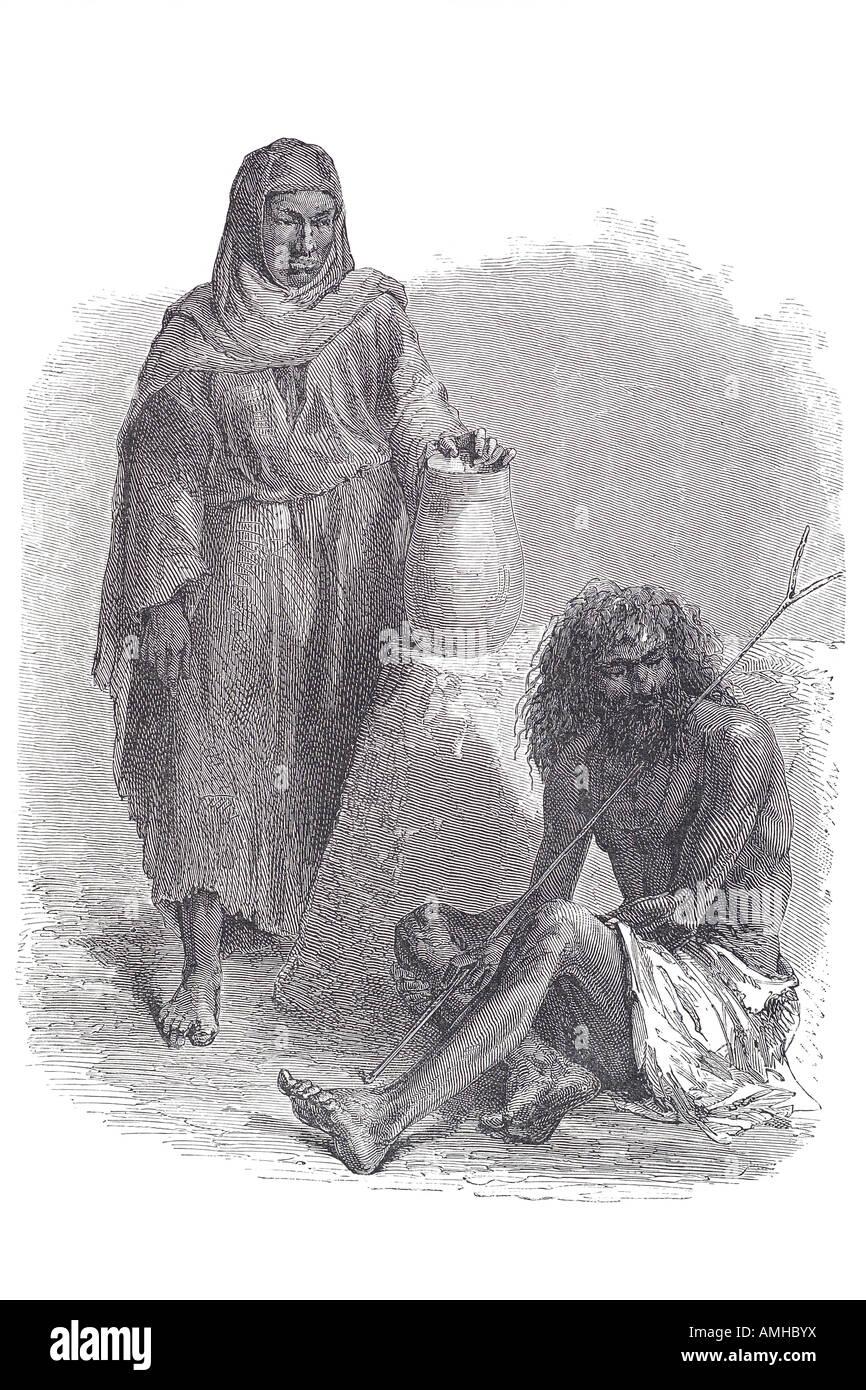 dervish Darvīsh and peasant woman native dress costume traditional tradition man penitent Arabic and Persian Sufi - Stock Image