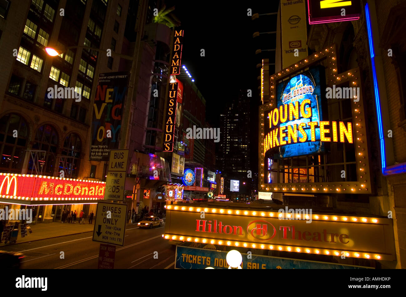 The marquee for the new Mel Brooks musical Young Frankenstein is seen on the Hilton Theatre on 42nd street - Stock Image