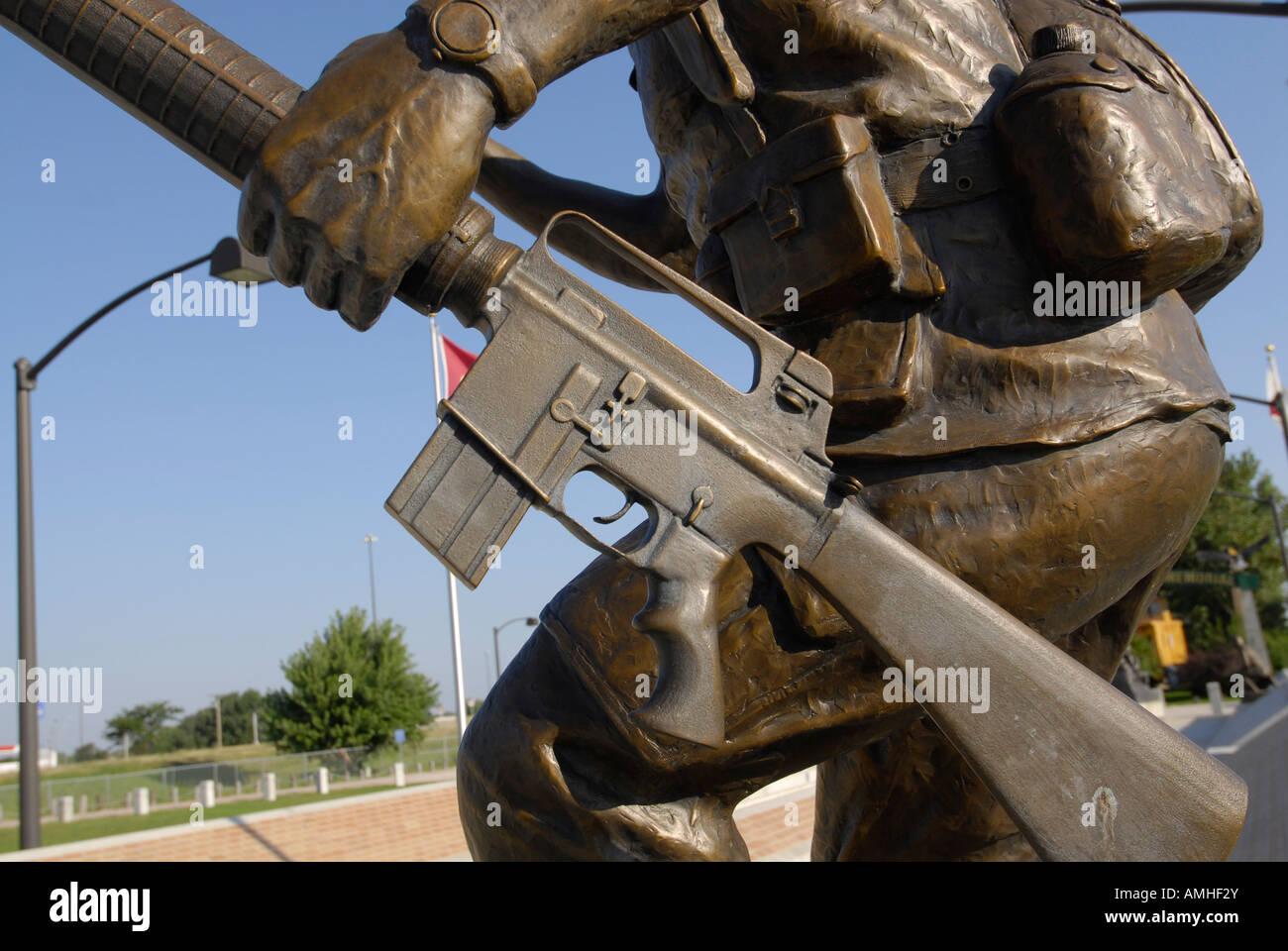 North Platte Nebraska NE 20th Century Veterans Memoral Park and the Defenders of Liberty Statue Stock Photo