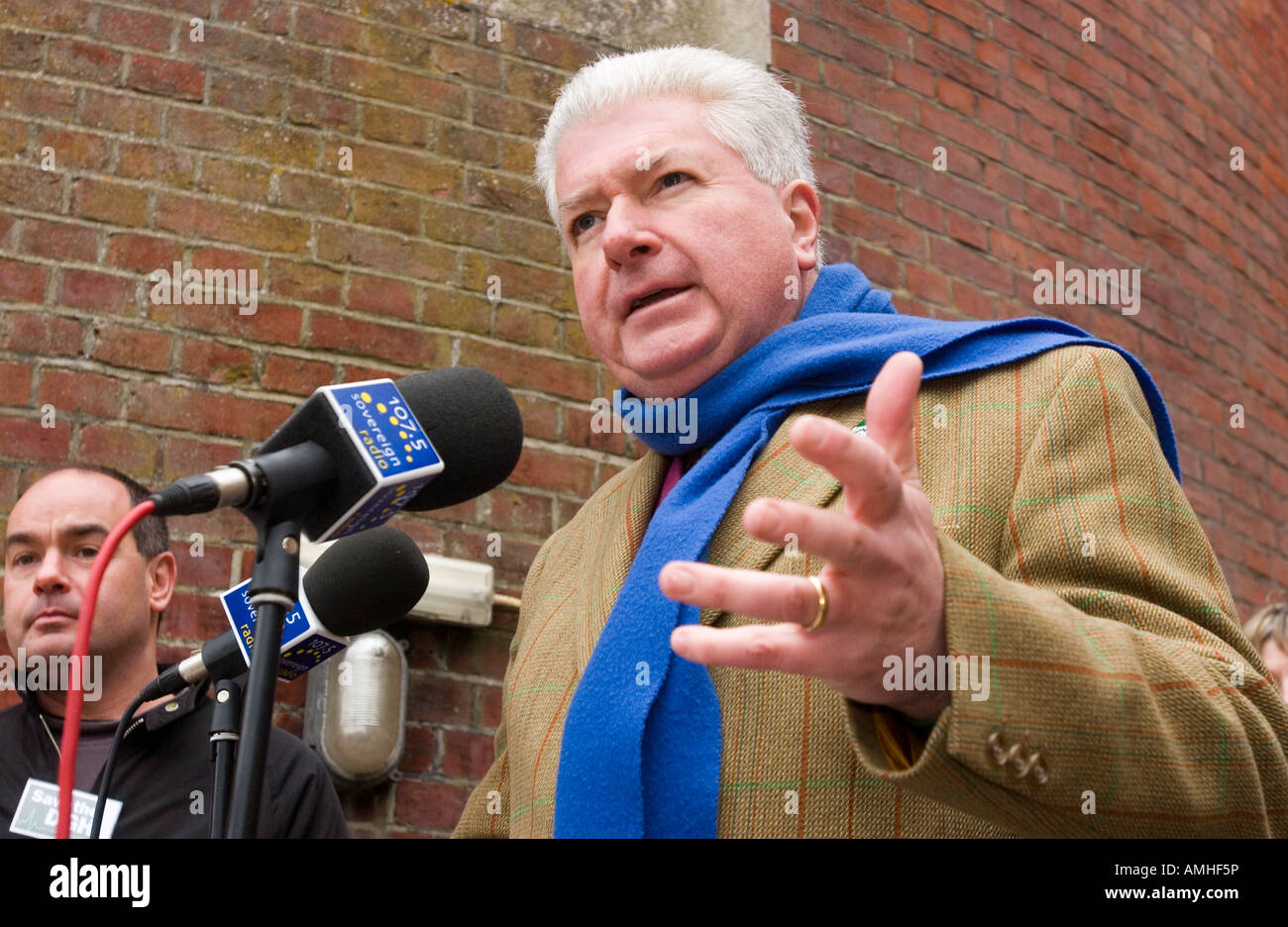 Nigel Waterson, (FORMER - SEE BELOW) Conservative MP for Eastbourne  addresses a crowd against local maternity unit - Stock Image