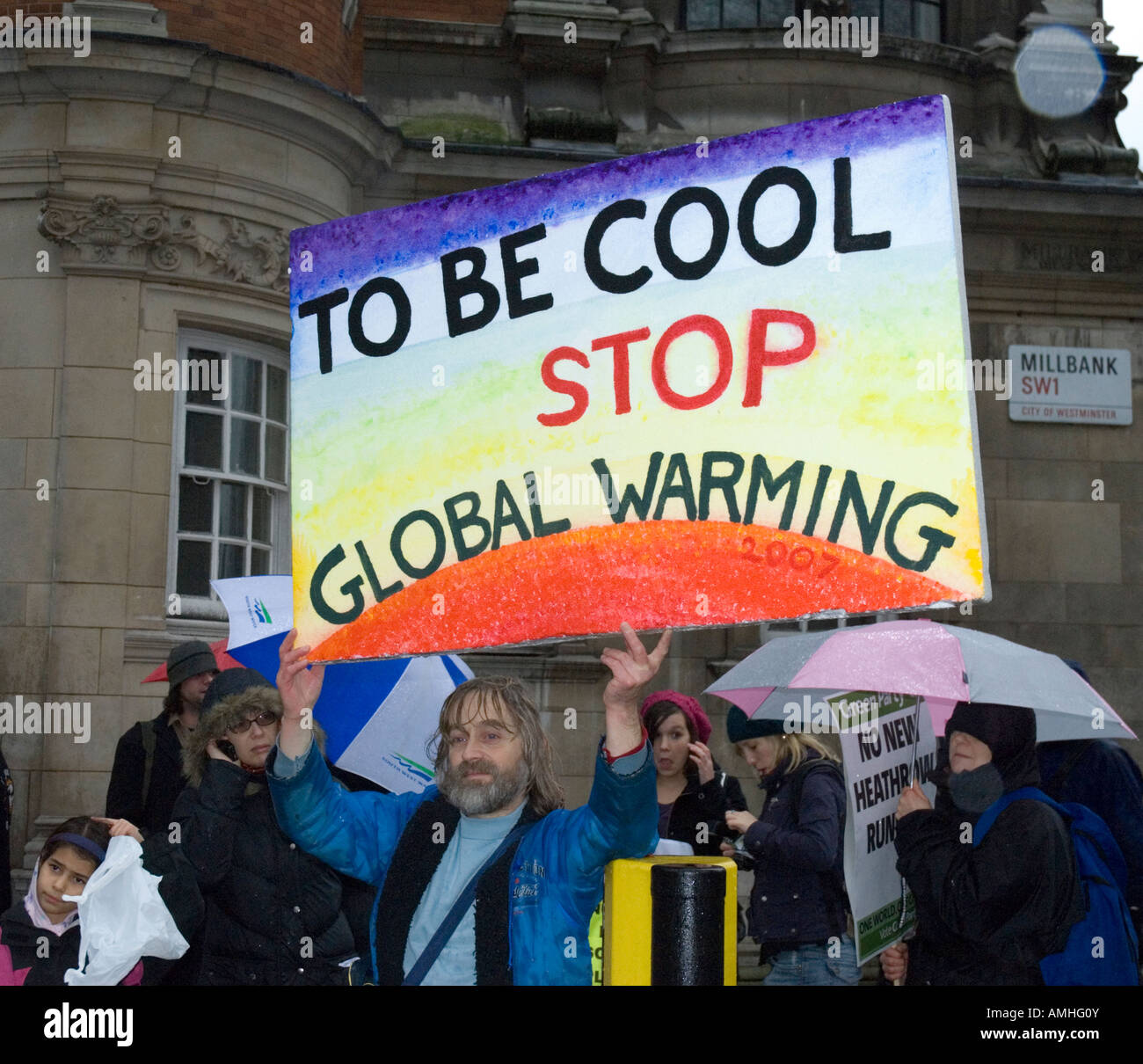 'To Be Cool Stop Global Warming' protestors placard Climate Change march London December 8th 2007 - Stock Image