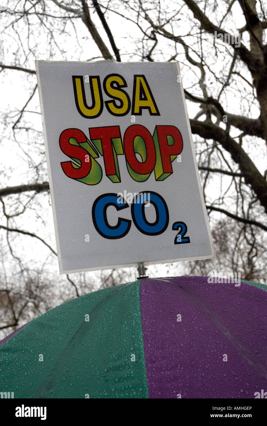 'USA stop C02' protestors placard Climate Change march London December 8th 2007 - Stock Image