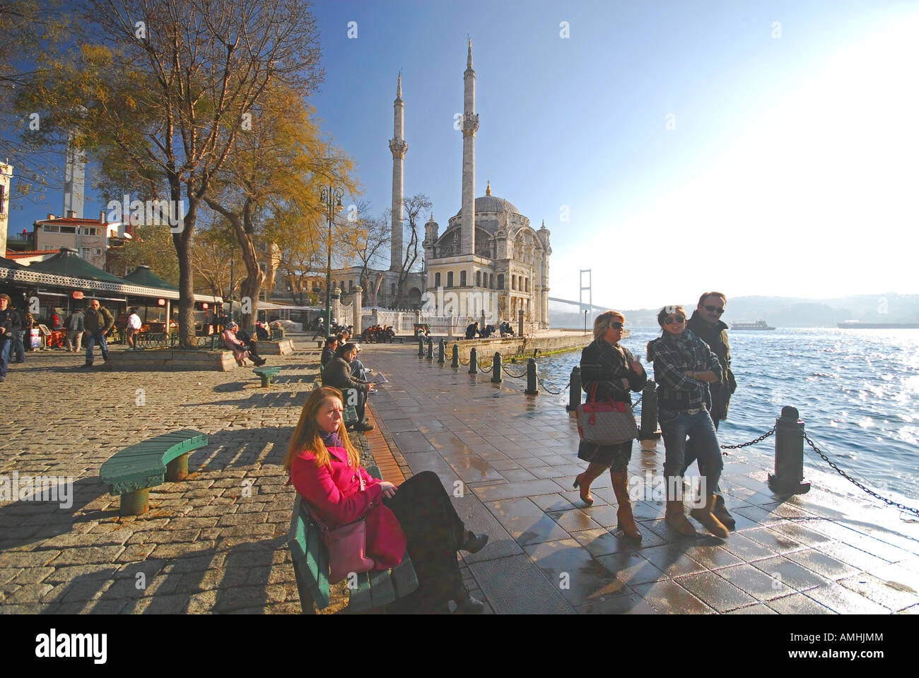ISTANBUL, TURKEY. View of the Bosphorus waterfront at Ortakoy, with the Mecidiye Mosque and first Bosphorus bridge Stock Photo