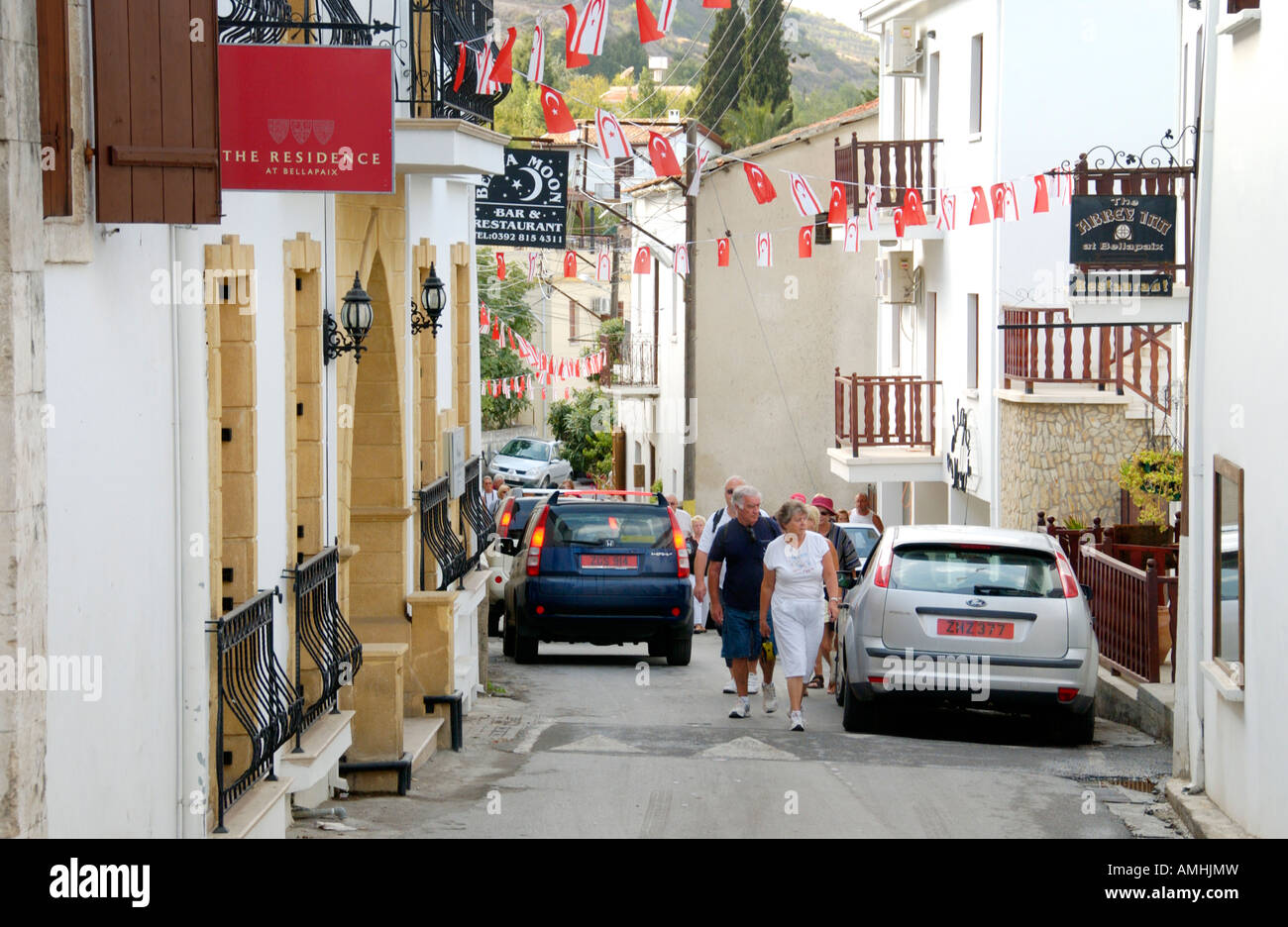 Street scene in Bellapais village on the Mediterranean island of Cyprus in the Turkish controlled northern region - Stock Image