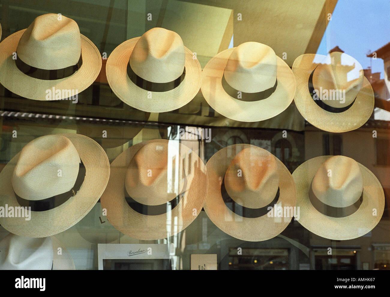 b55bc74f panama hats in shop window Cortona Italy Stock Photo: 4984678 - Alamy