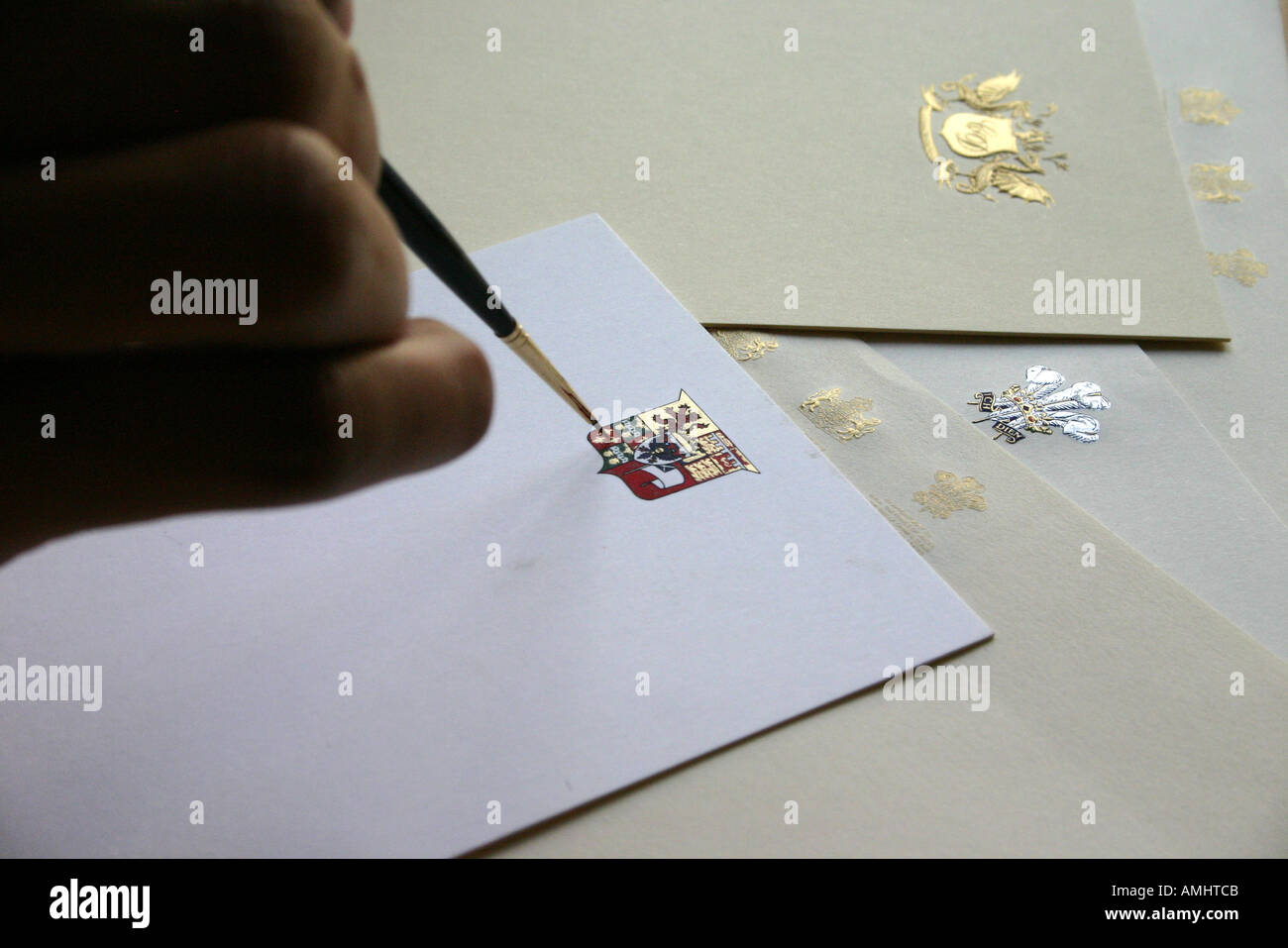 Printing heraldry on stationery - Stock Image