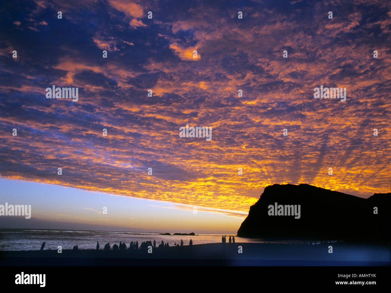 Midnight sun over sea Europa Europe Norway body of water geography horizontal format mood overview sea sun travel - Stock Image