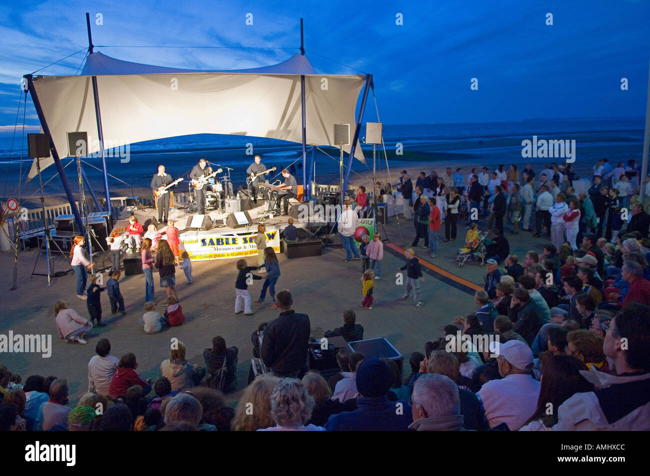 France free pop concert at the sea front in Villers sur Mer in Normandy - Stock Image