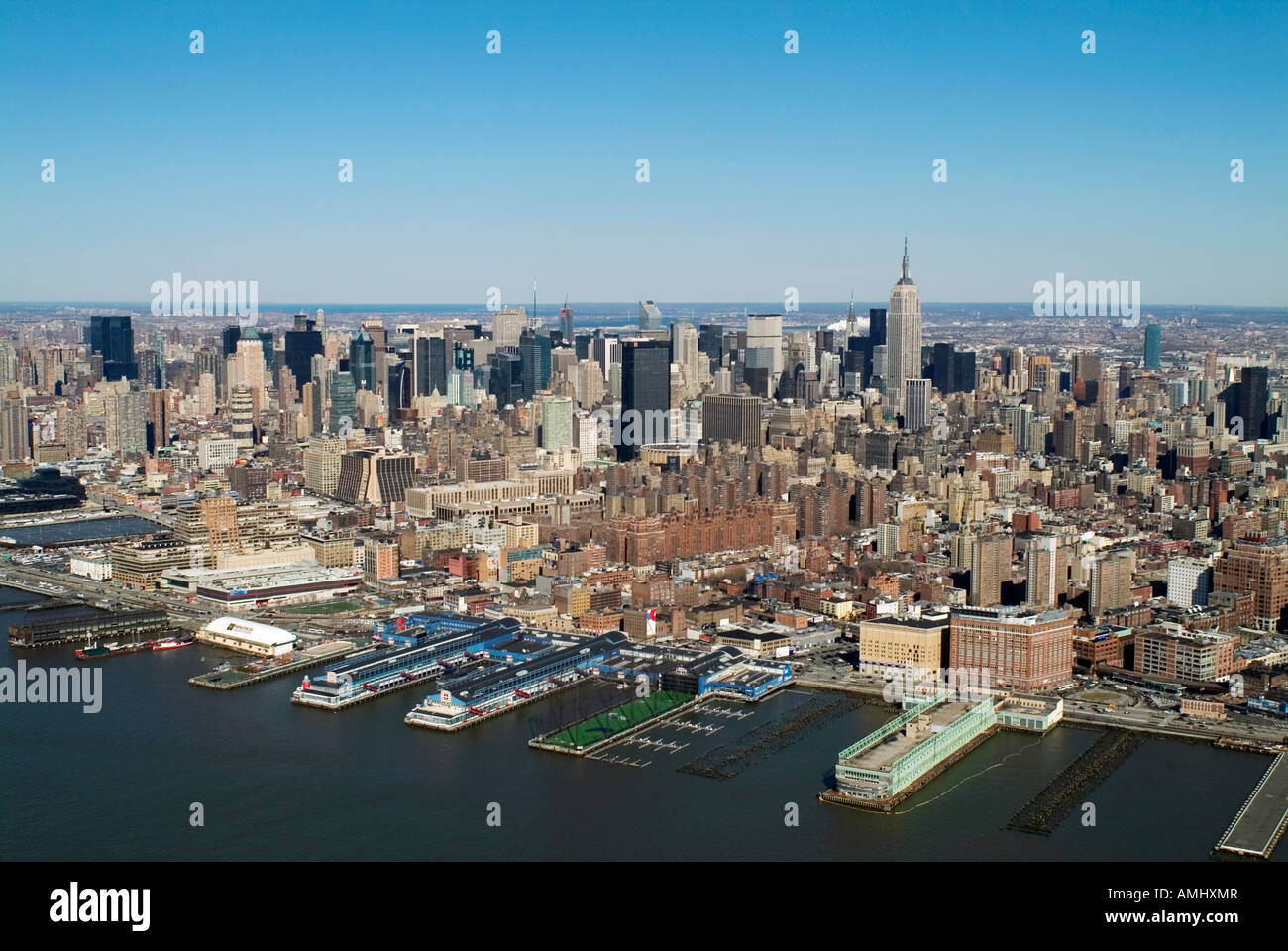 aerial view above midtown Manhattan New York city from Hudson river Stock Photo