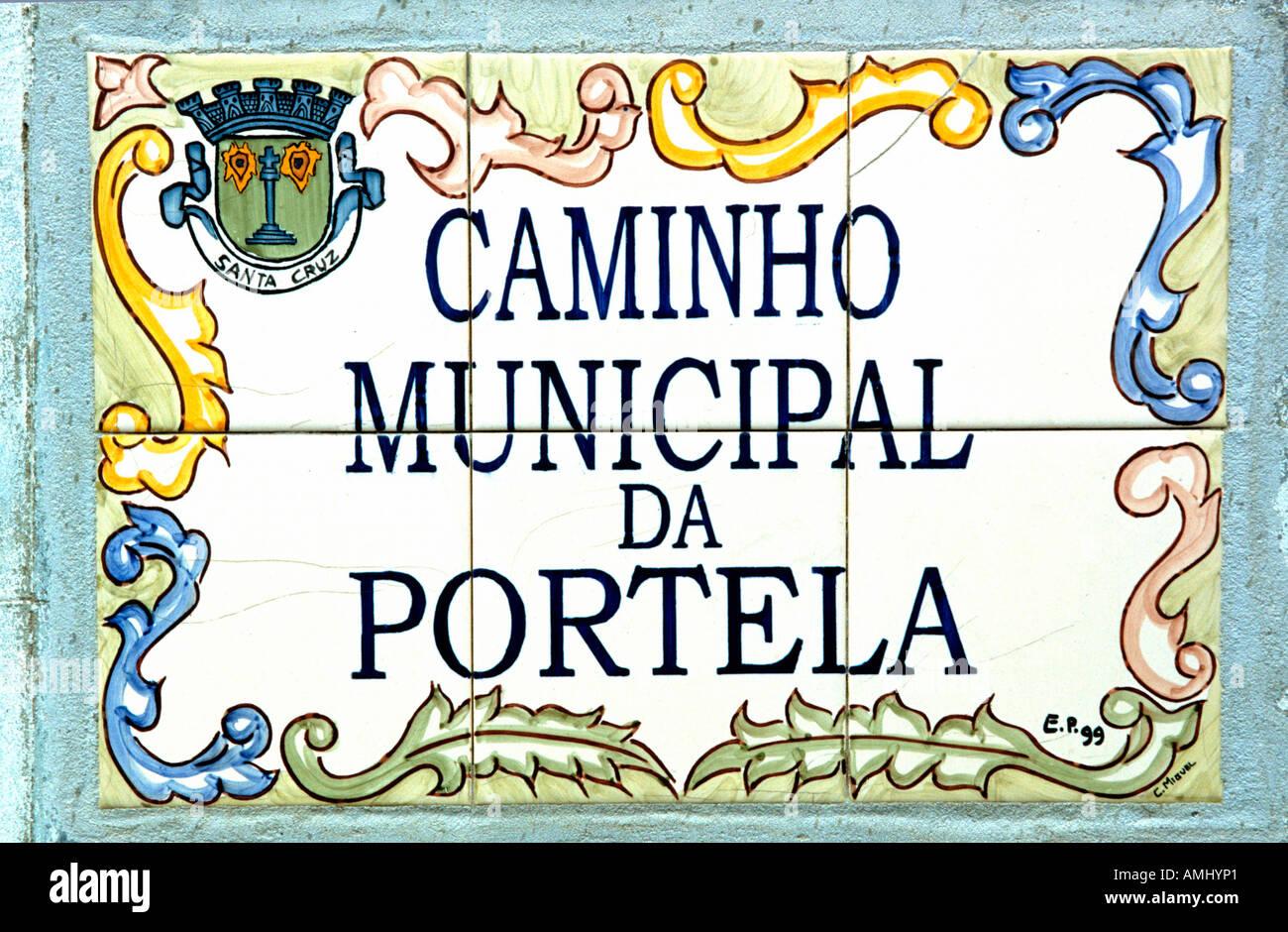 Madeira, Camacha, Strassenschild - Stock Image
