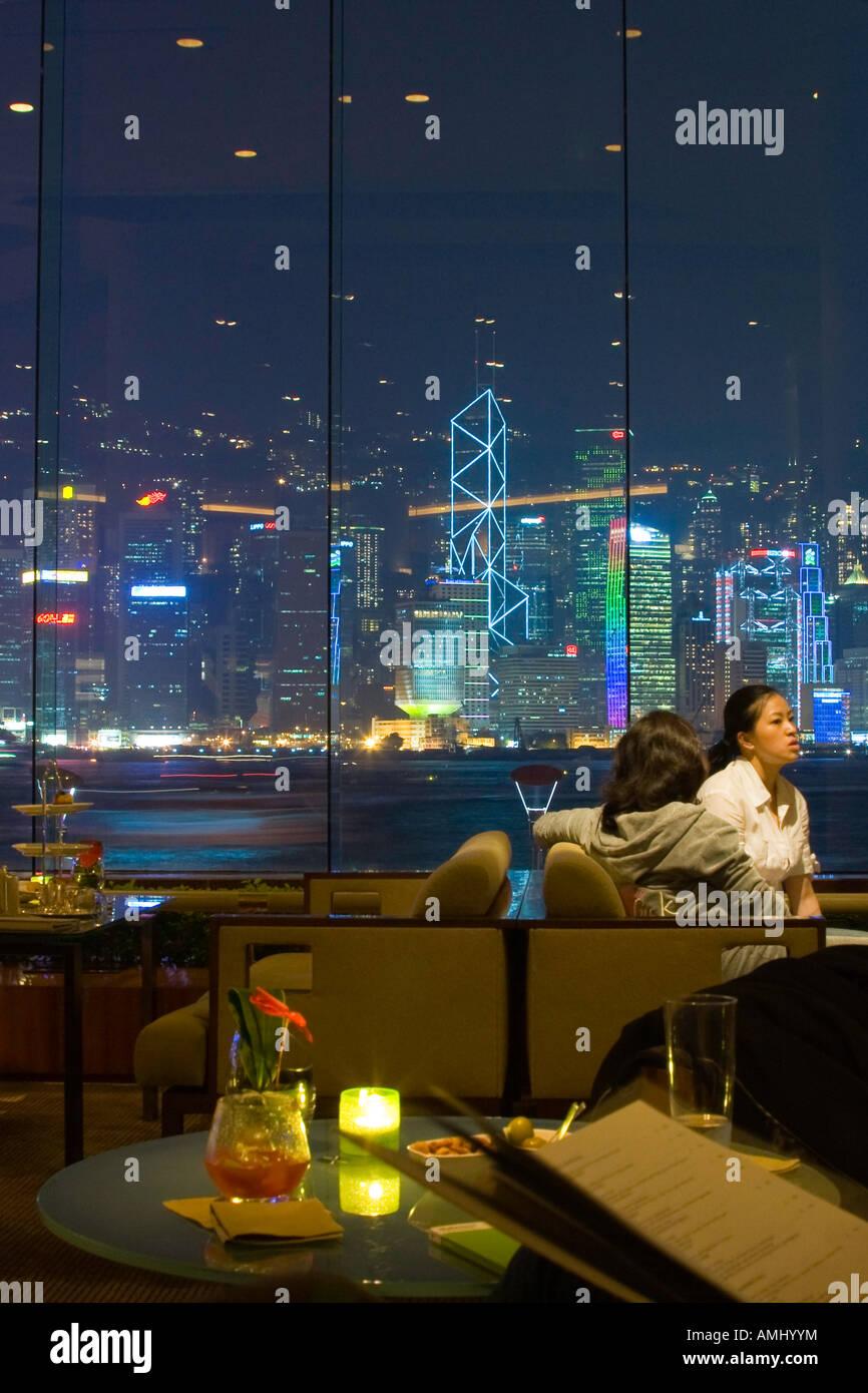 Skyline View The Lobby Lounge Bar at the Intercontinental Hotel Hong Kong - Stock Image