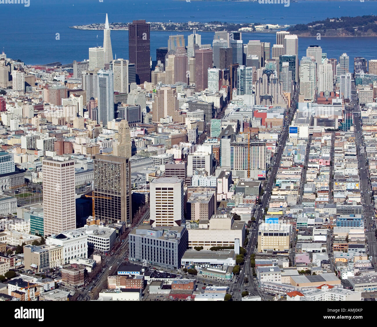 aerial from above Mission and Van Ness in San Francisco down Mission toward the Bay - Stock Image