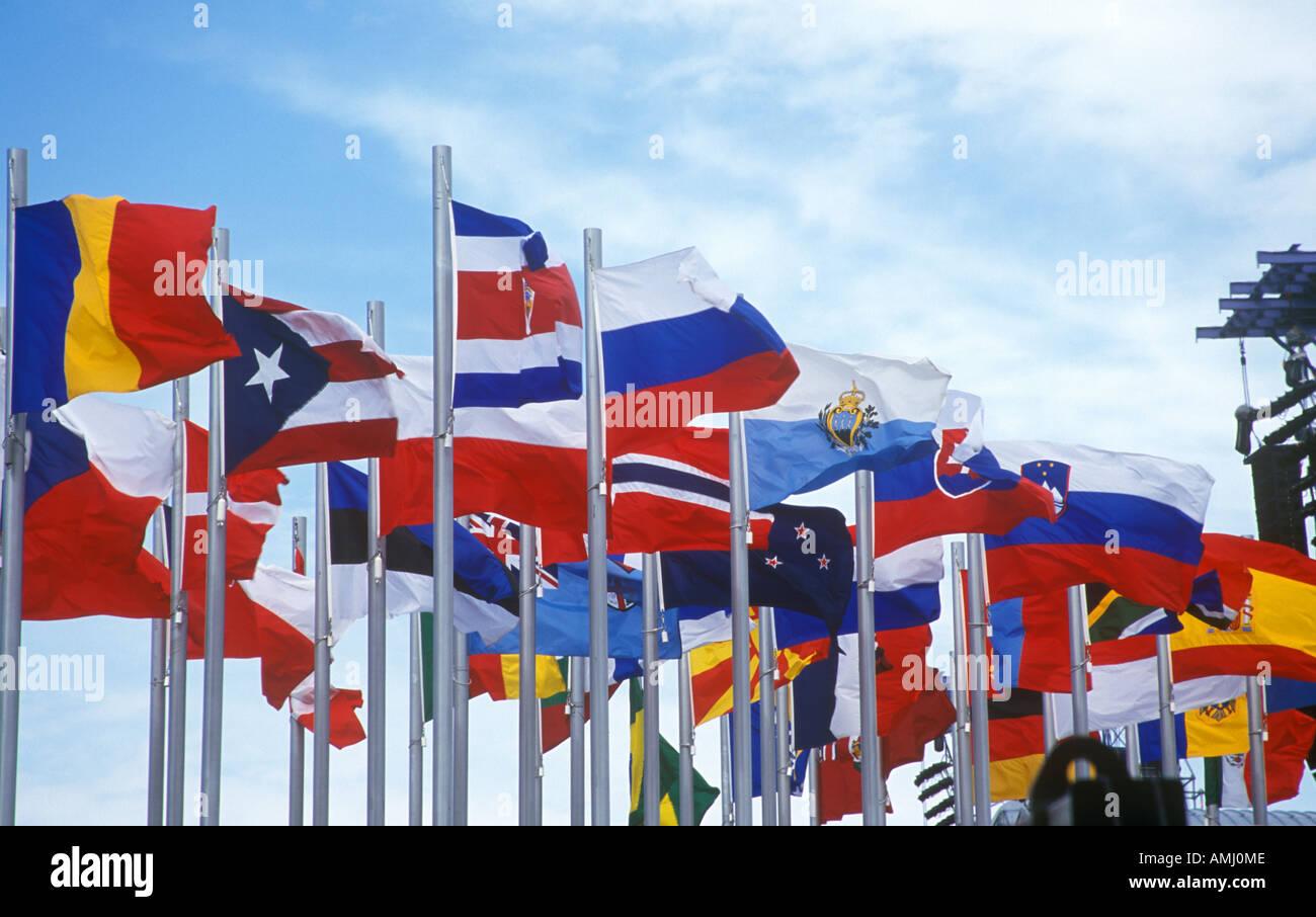 Olympic flags flying during 2002 Winter Olympics Salt Lake City UT - Stock Image