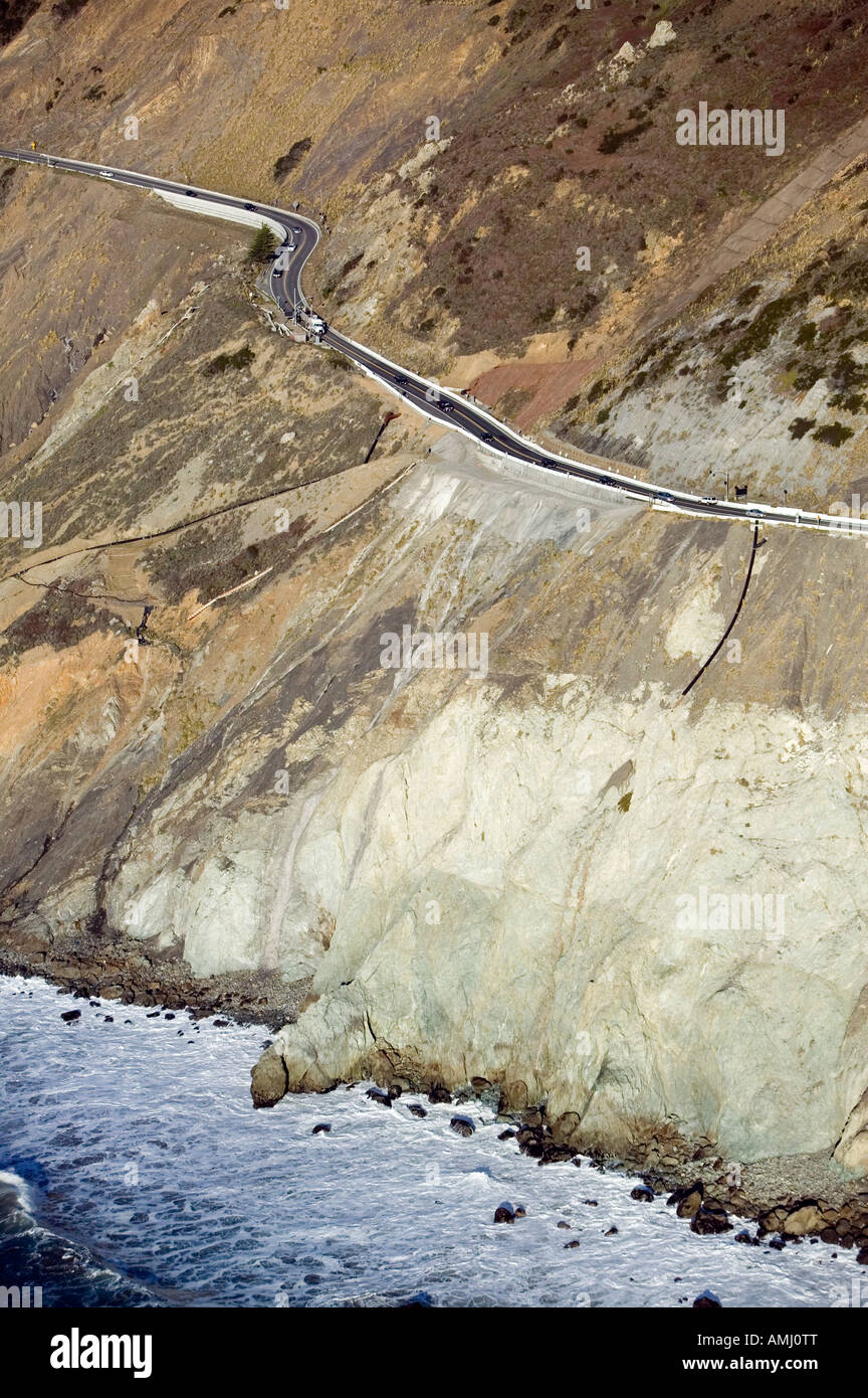 aerial above landslide Highway One edge of cliff on Pacific Ocean in the San Mateo coast in California erosion - Stock Image