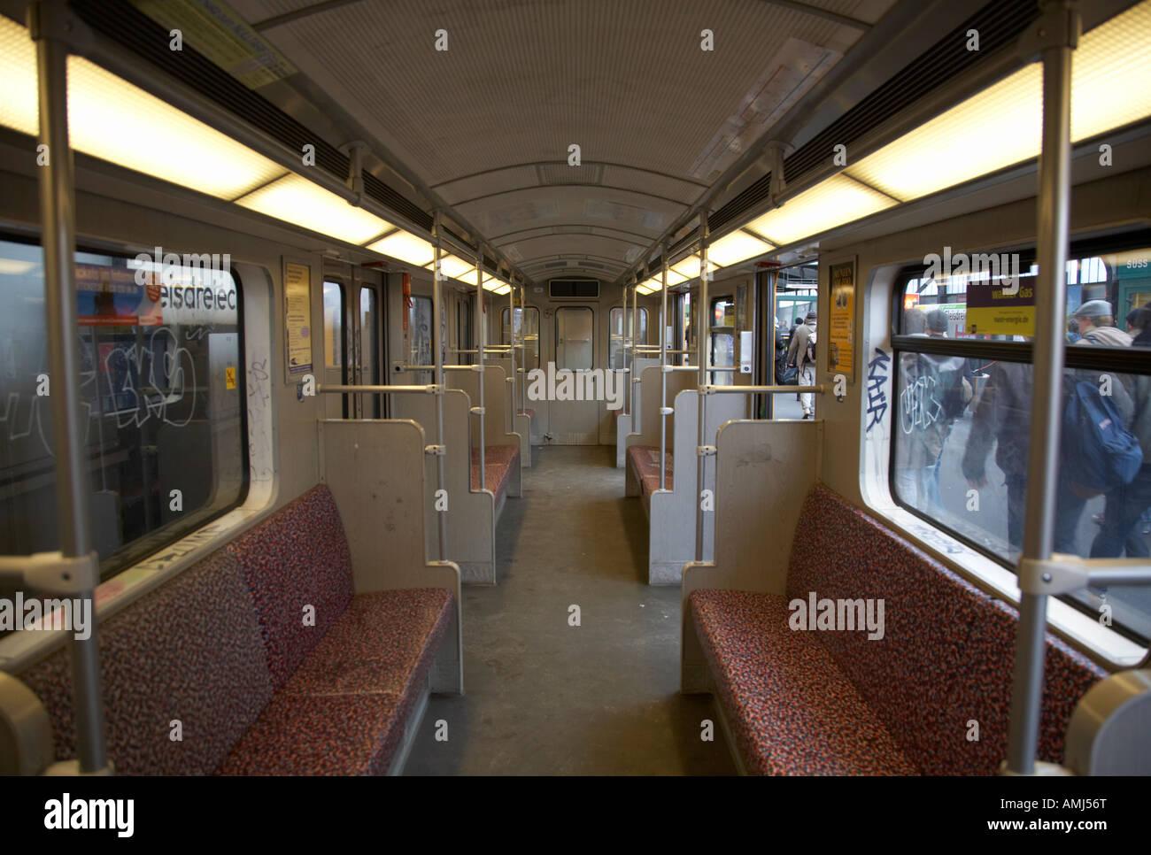 Interior Of A German U Bahn Train Berlin Germany Stock