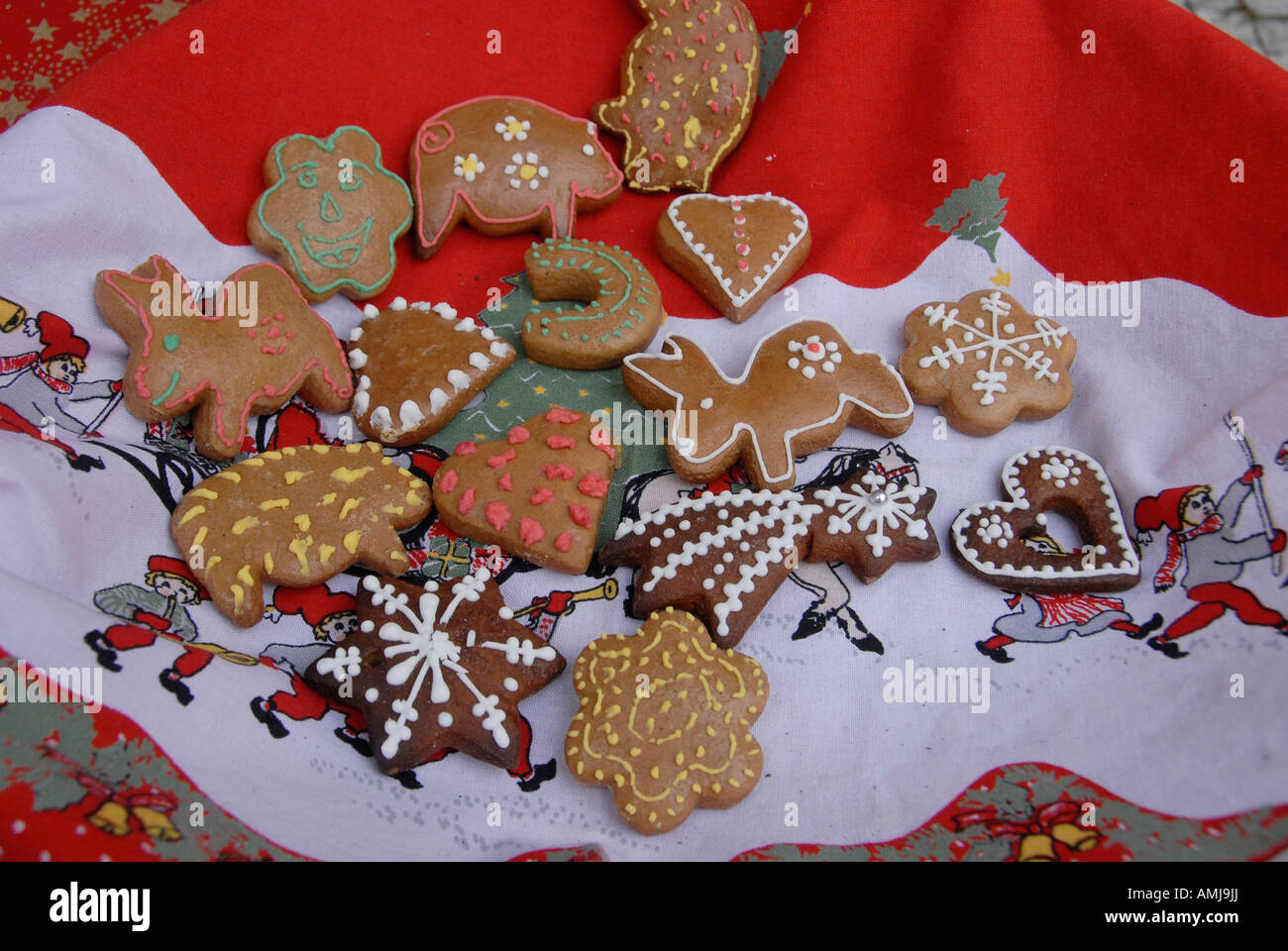Traditional Decorated Christmas Cookies Czech Republic Stock Photo