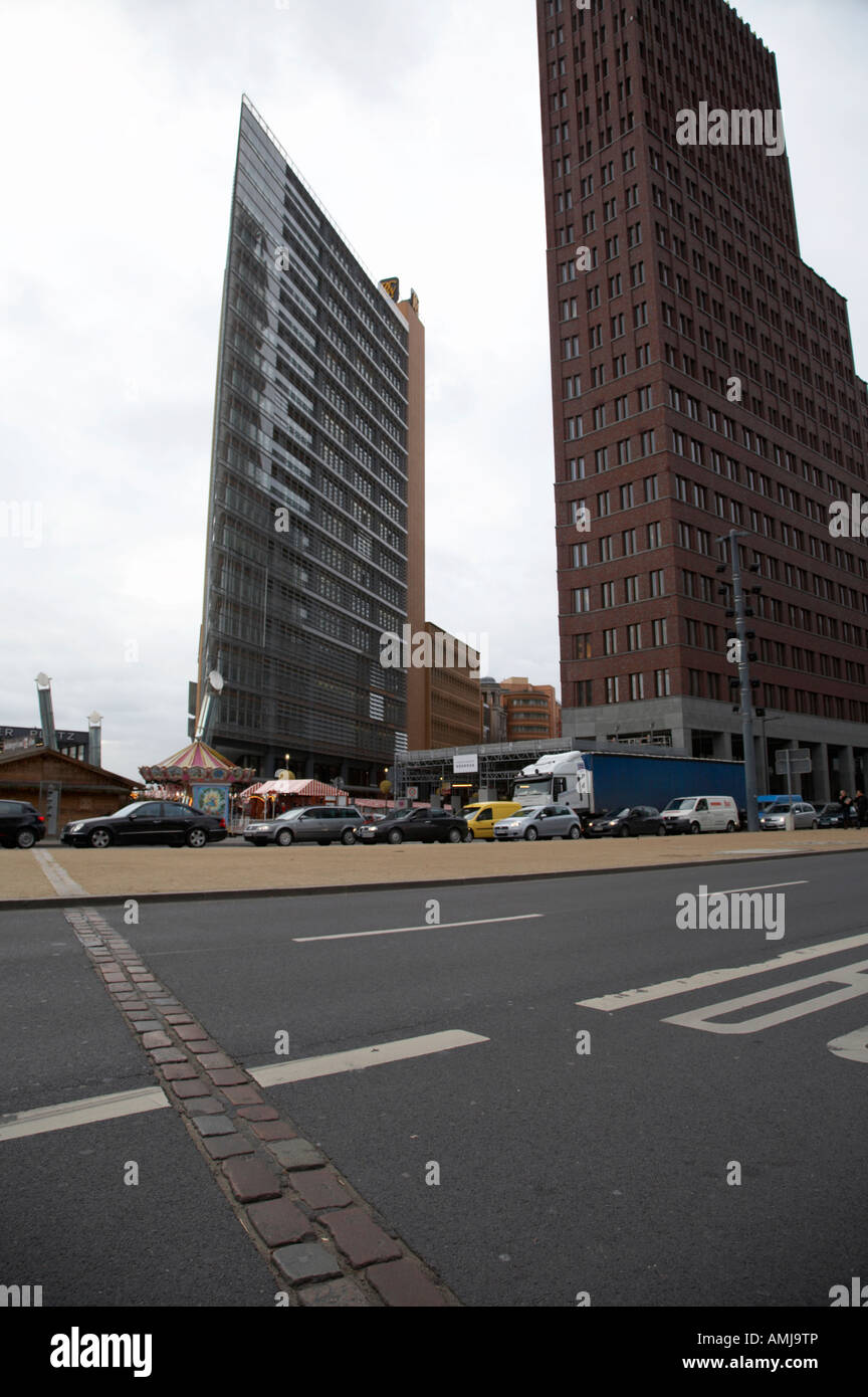 double row of bricks crossing Potsdamer Platz to signify the previous position of the berlin wall Berlin Germany Stock Photo