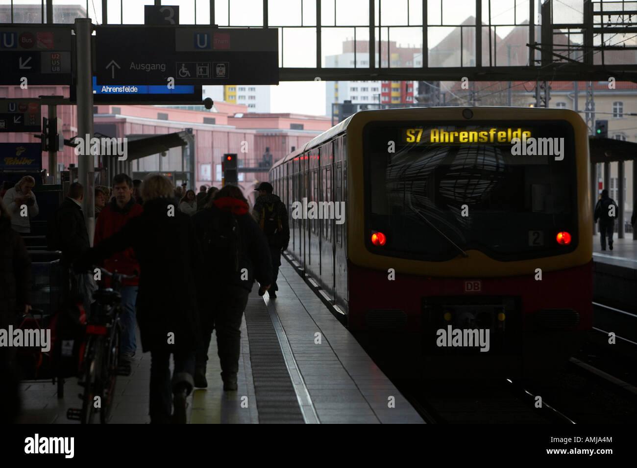 S Bahn train leaving Alexanderplatz station Berlin Germany Stock Photo