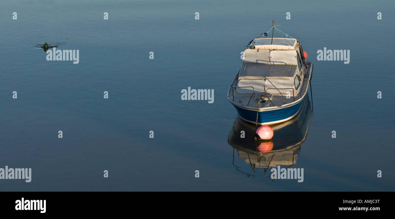 Leisure boat moored river Shoreham Port River Adur Stock Photo