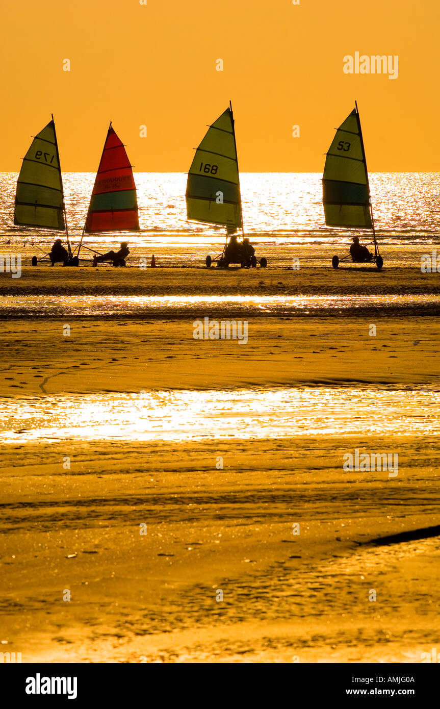 Sand yachts on the beach at Le Touquet France - Stock Image