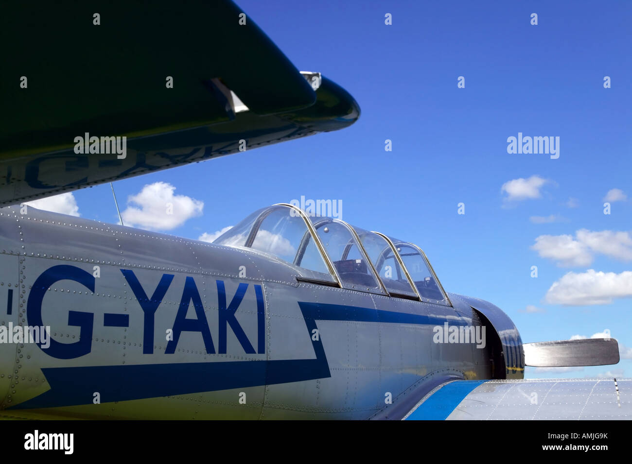 View along the fuselage of a Russian YAK52 airplane these aircraft are now used for stunt flying - Stock Image