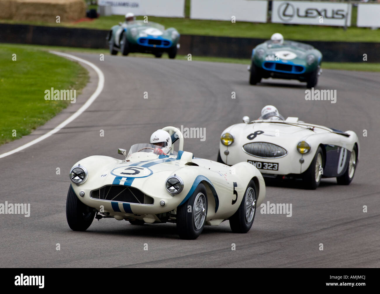 1955 Aston Martin DB3S driven by Uri Muller leads the Austin-Healey 100S of Stuart Graham through Madgwick at Goodwood Revival. Stock Photo