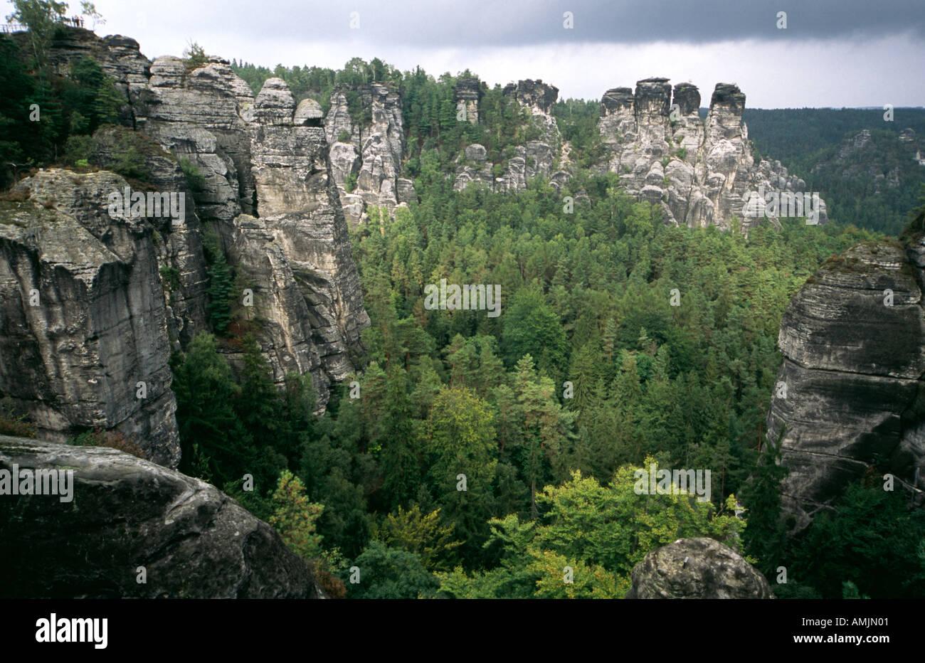 ELBE SANDSTONE MOUNTAINS SAXON SWITZERLAND GERMANY Stock Photo