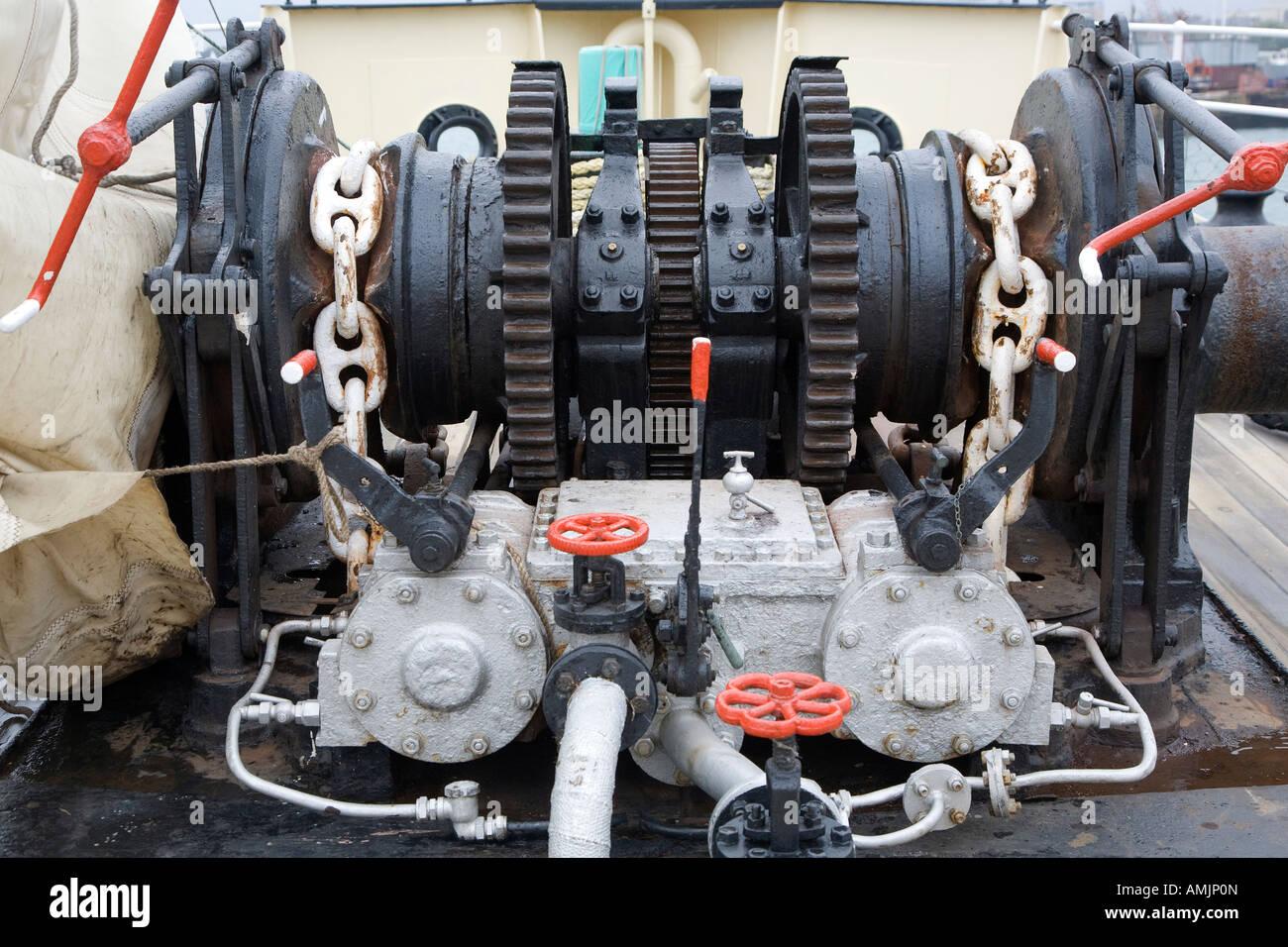Steam powered driven winch windlass - Stock Image
