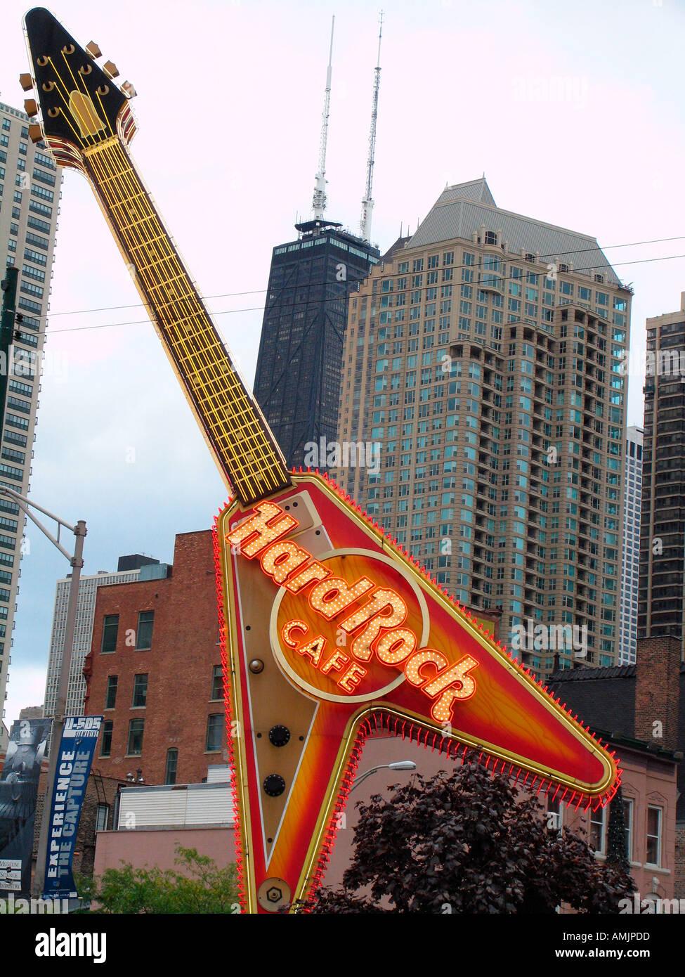 Hard Rock Cafe Flying V Guitar Sign River North Chicago Usa Stock