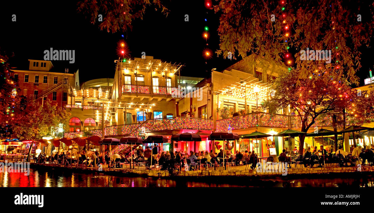 san antonio texas river walk restaurants christmas lights night panarama stock image
