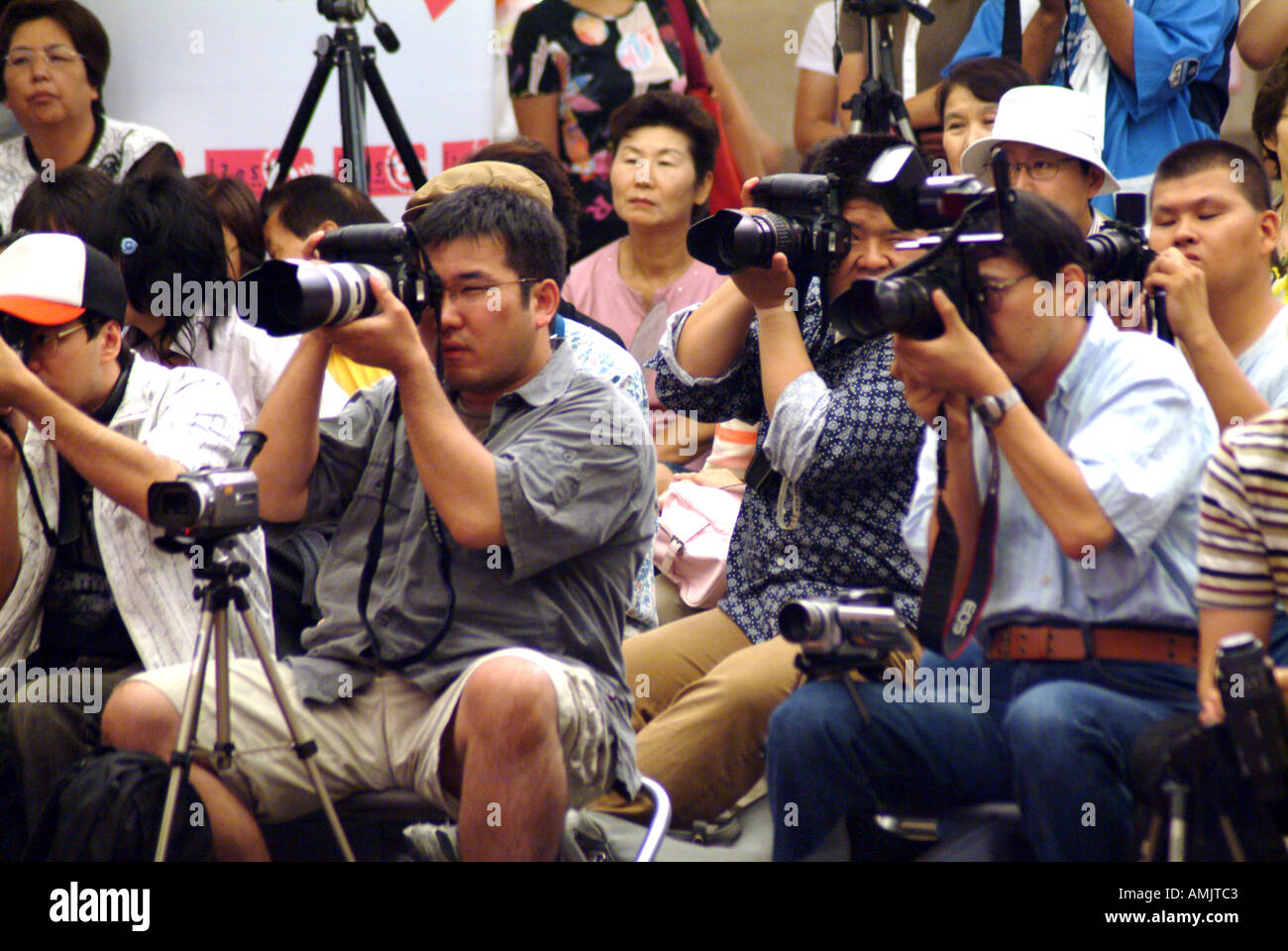 Audience photographers photographer camera viewer spectator Kyoto Japan performance concert Japanese JaPix  - Stock Image