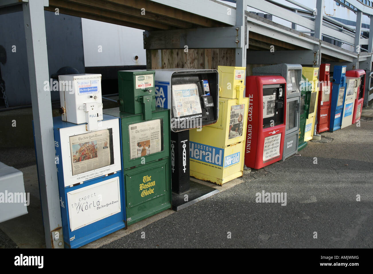 Newspaper Vending Machines at Ferry Dock Woods Hole Cape Cod New