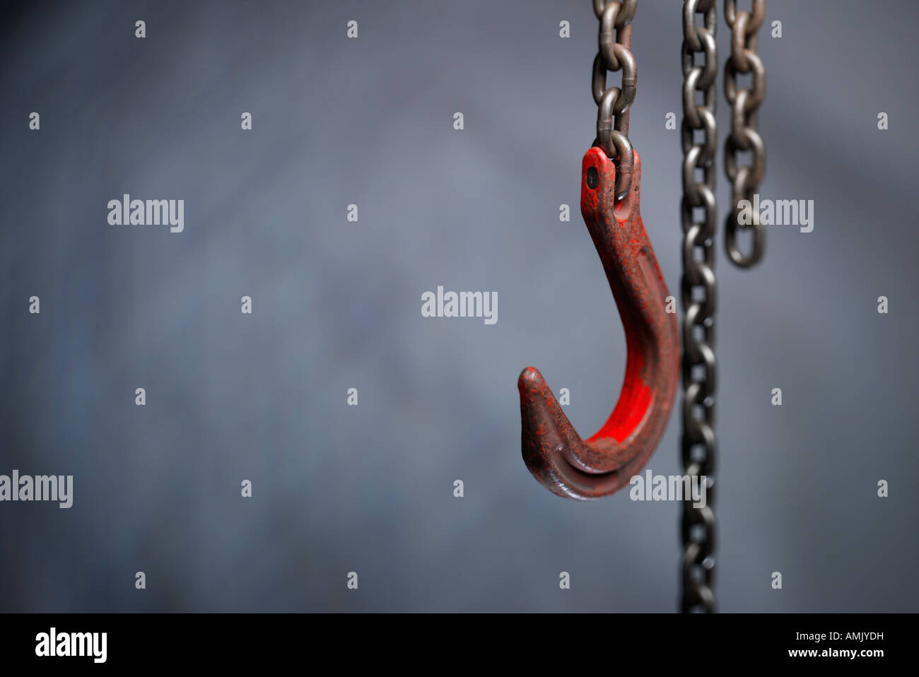 Hook and chains - Stock Image