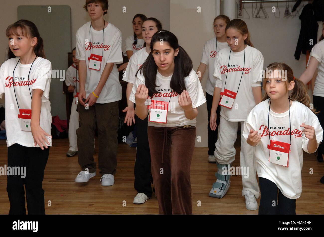 Aspiring Broadway stars practice their routines at Camp Broadway - Stock Image