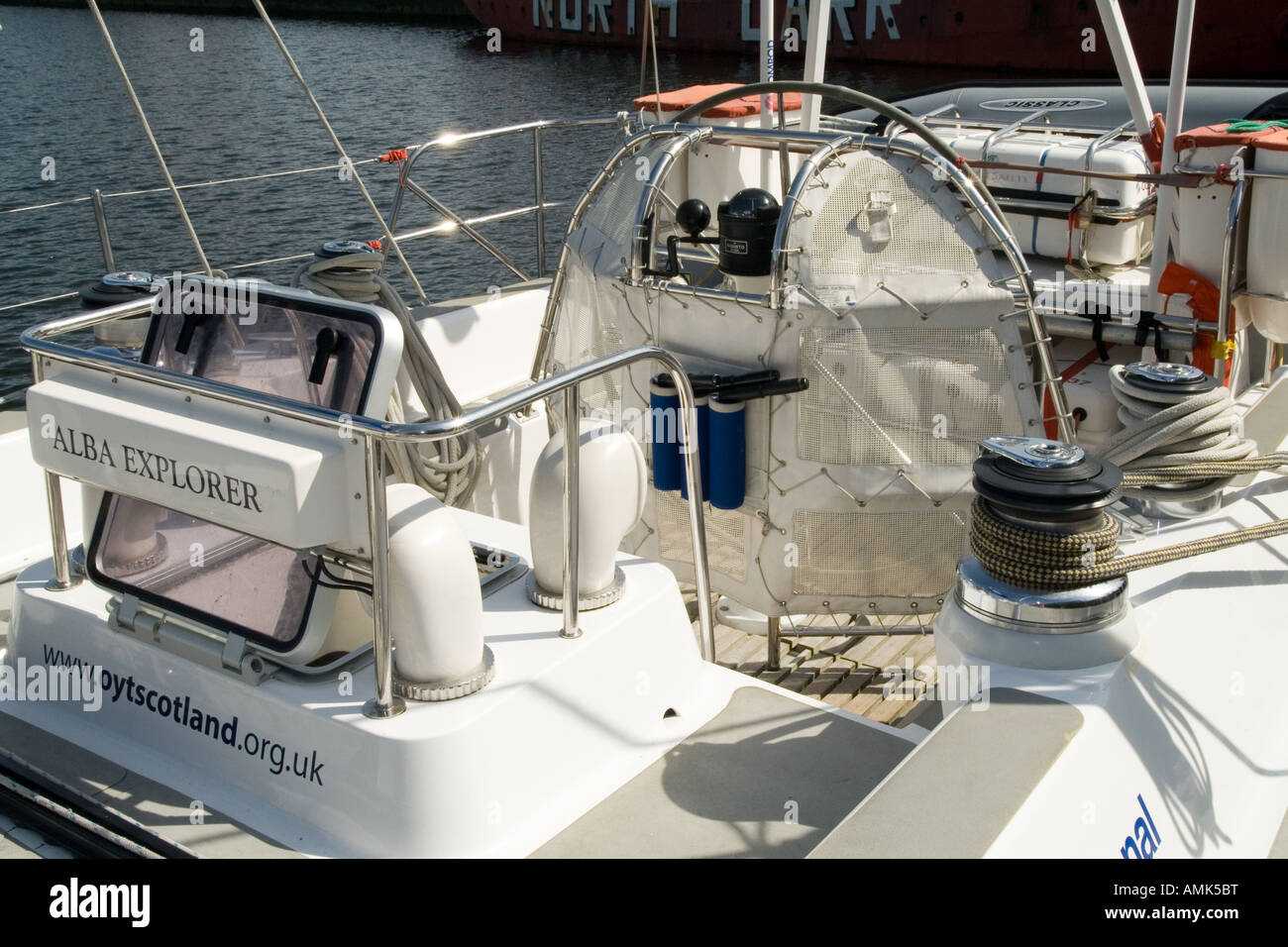On board the deck of the Alba Explorer yacht berthed at Victoria Docks in Dundee,UK - Stock Image