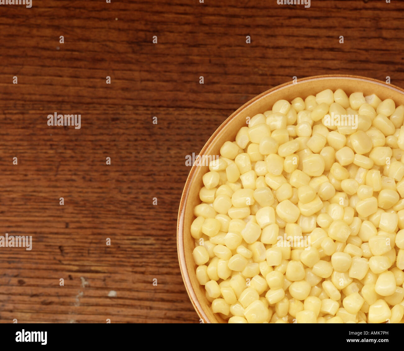 whole kernel corn vegetable food yellow copy space - Stock Image