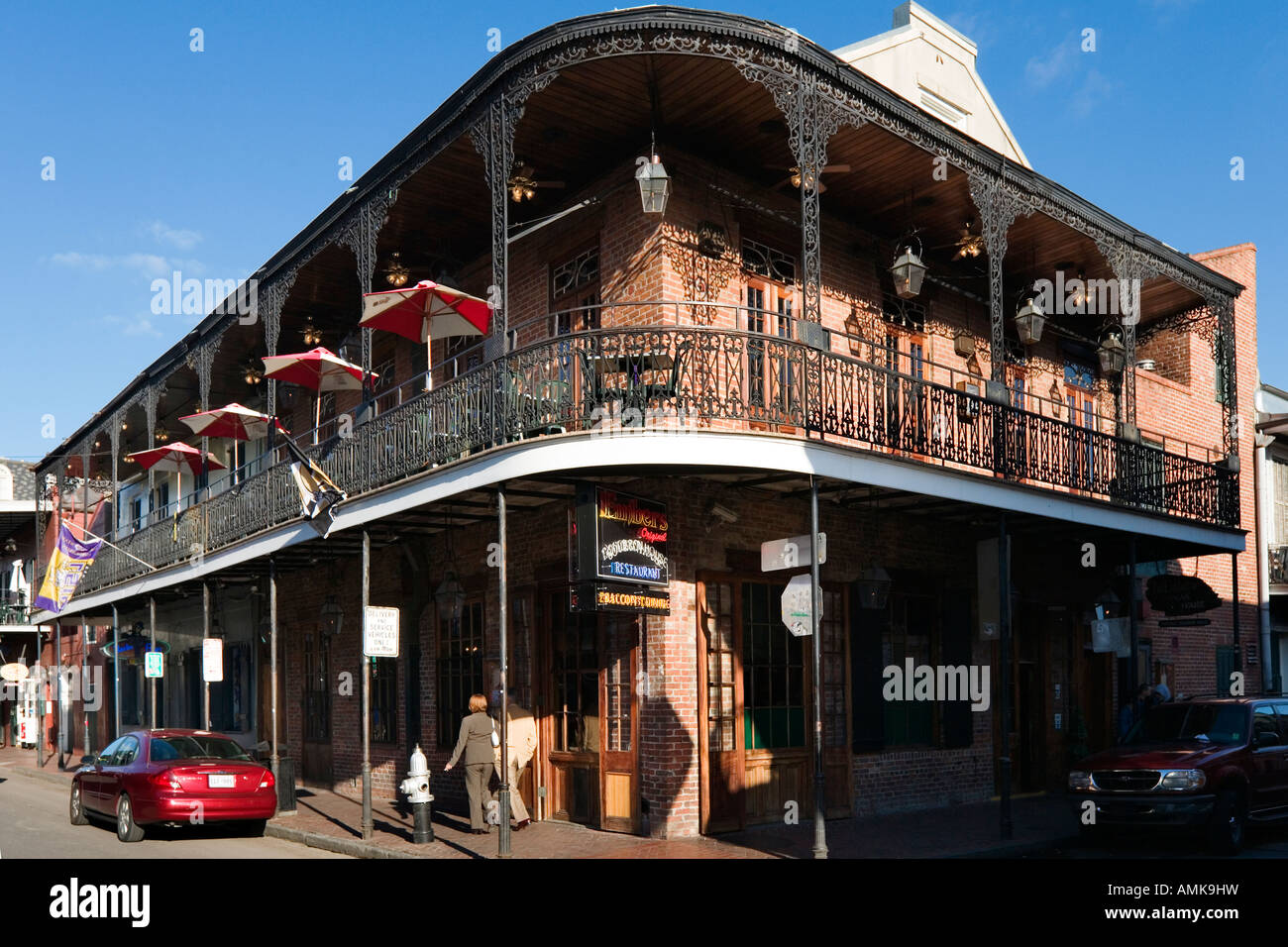 Restaurant With Typical Wrought Iron Balconies French Quarter New