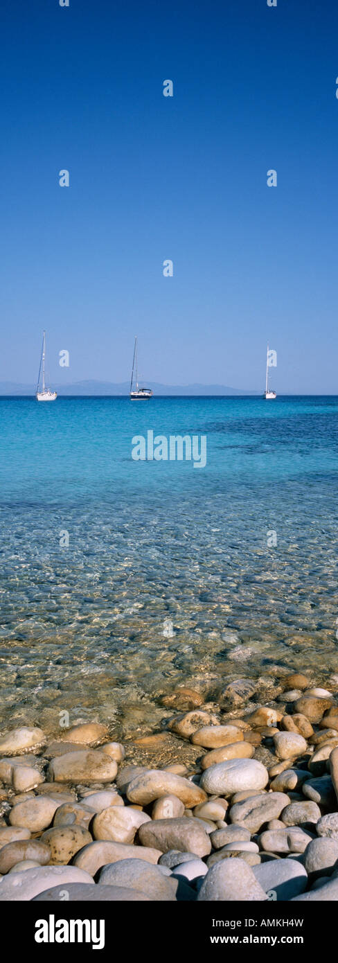 a panoramic photo of the Ionian sea in front of Antipaxos Island Greece - Stock Image