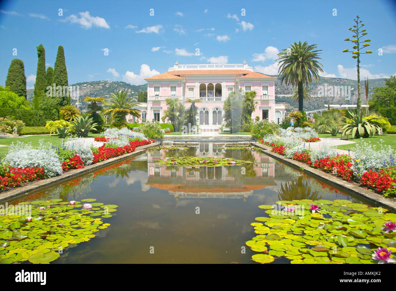 The Gardens and Villa Ephrussi de Rothschild Saint Jean Cap Ferrat France - Stock Image