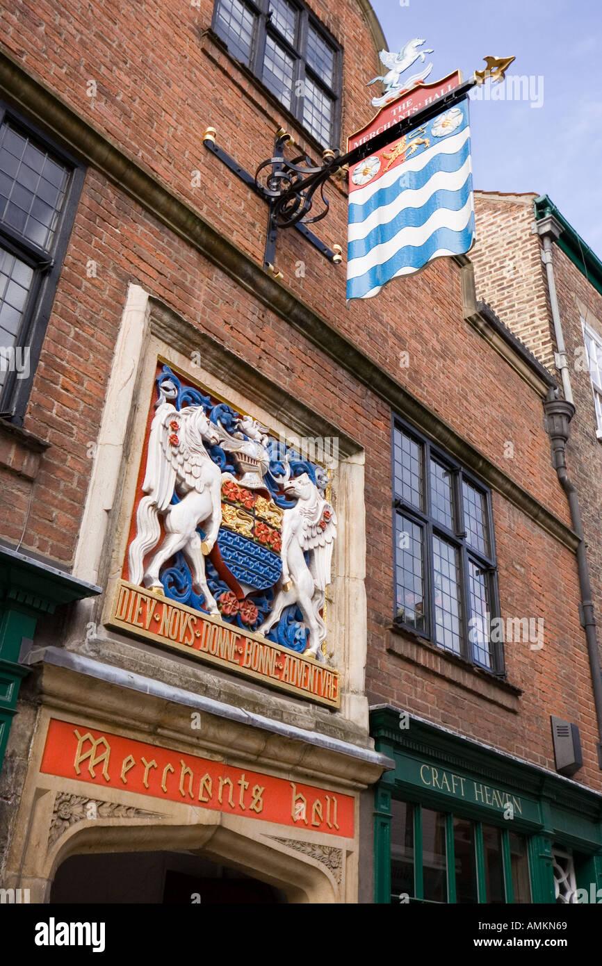 Entrance to Merchants Hall, York, England, United Kingdom - Stock Image