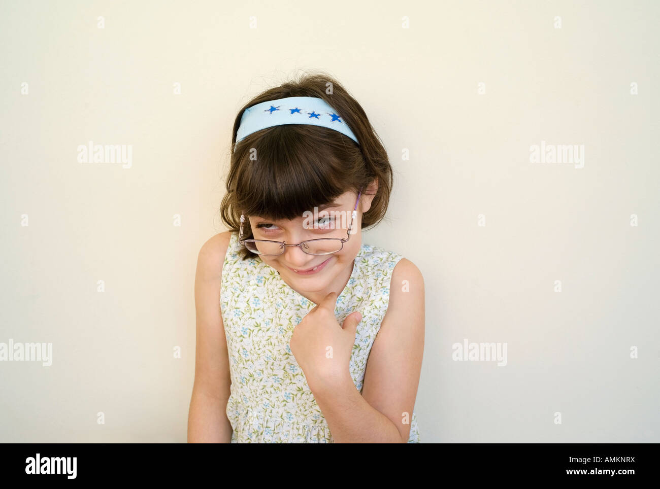 Who me? Girl points the finger at herself  in Toronto Ontario Canada - Stock Image