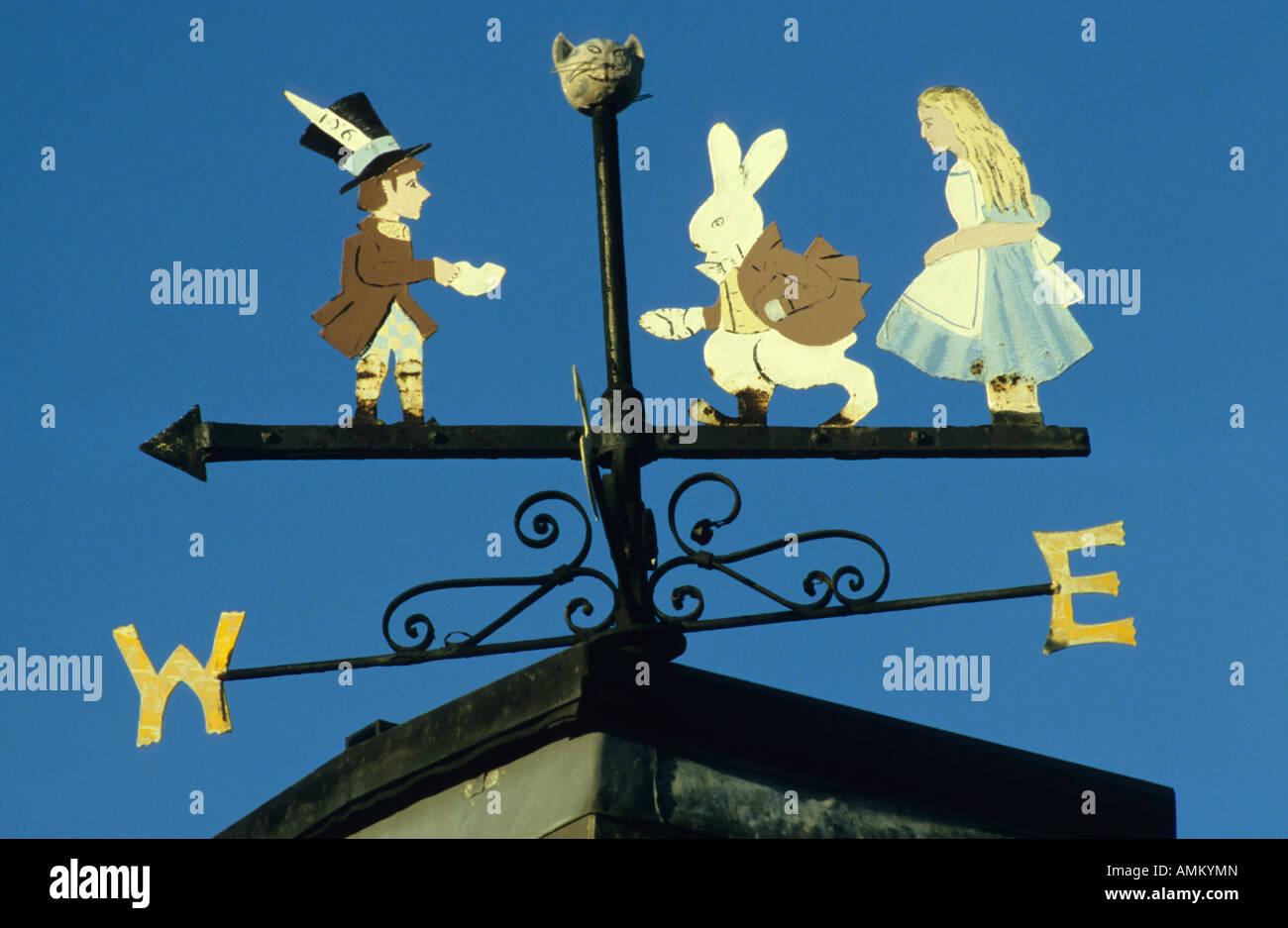 Alice in Wonderland weathervane, Daresbury Parsonage, Cheshire, UK. - Stock Image