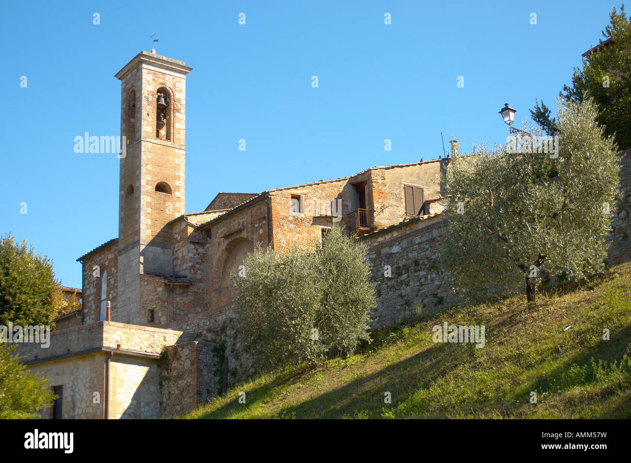 Church Tower in Colle Di Val D Elsa Tuscany Italy - Stock Image
