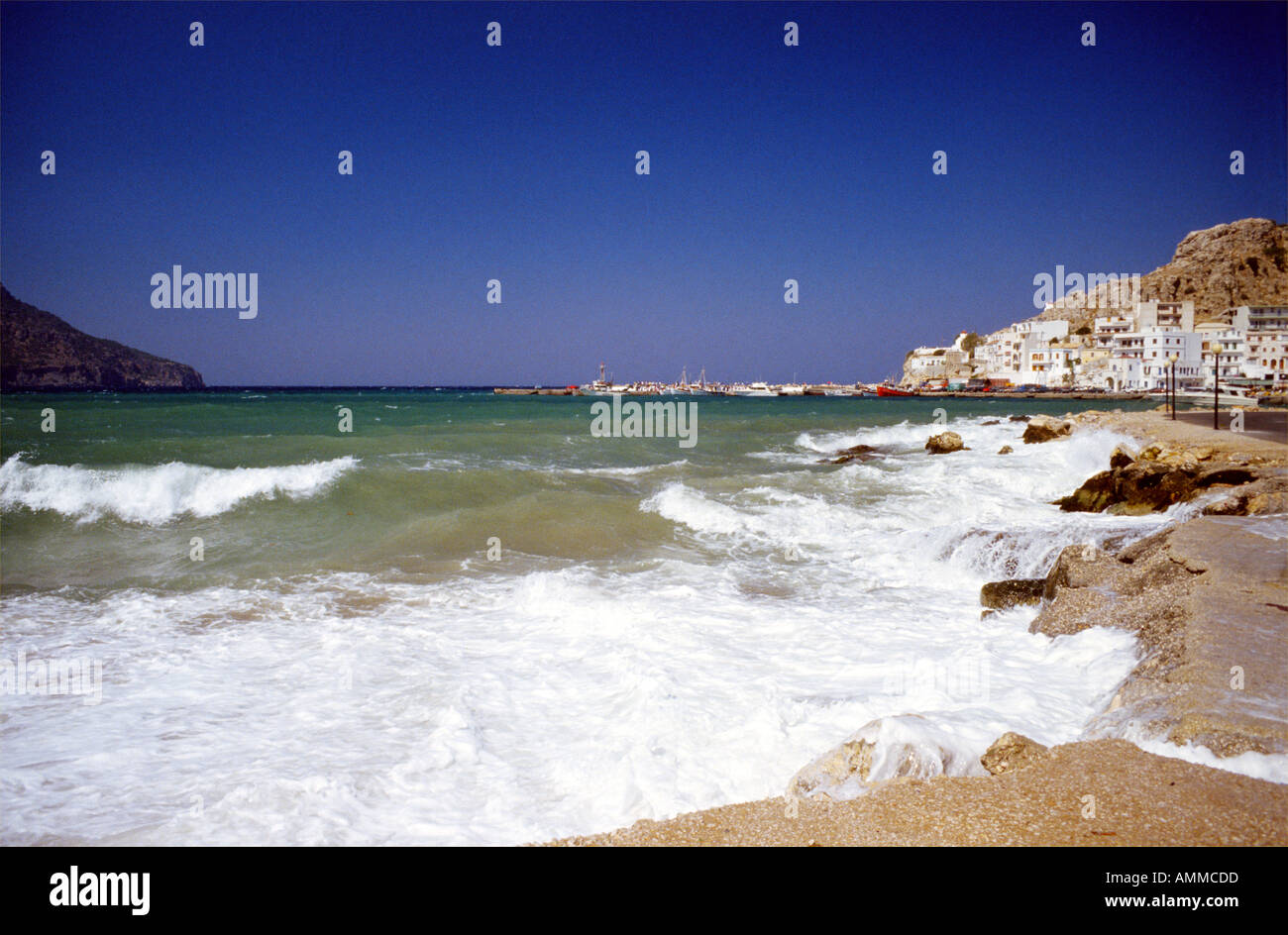 Pigardia Karpathos Island Harbor Greece Europe Stock Photo