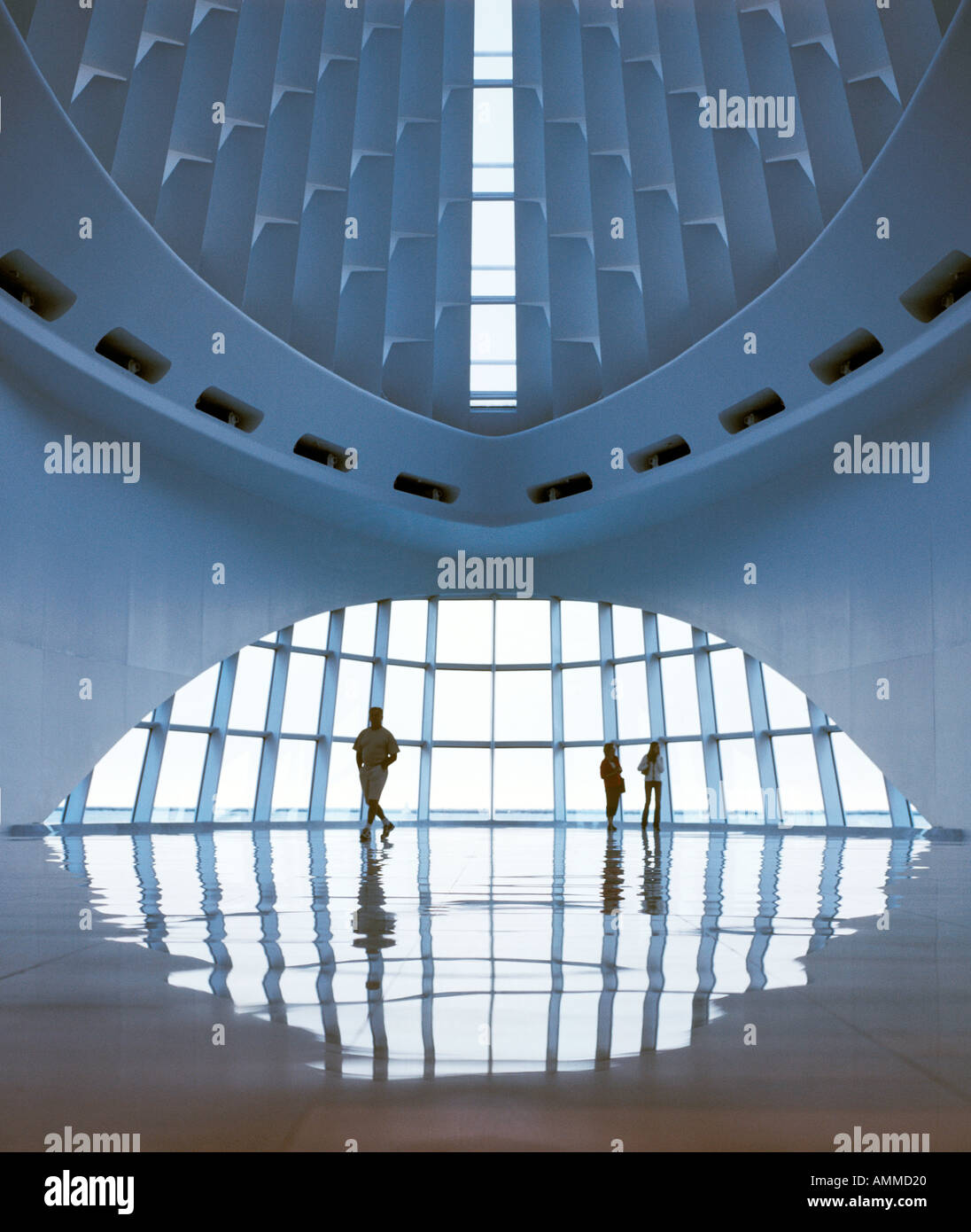 interior view Calatrava addition Milwaukee Art Museum - Stock Image